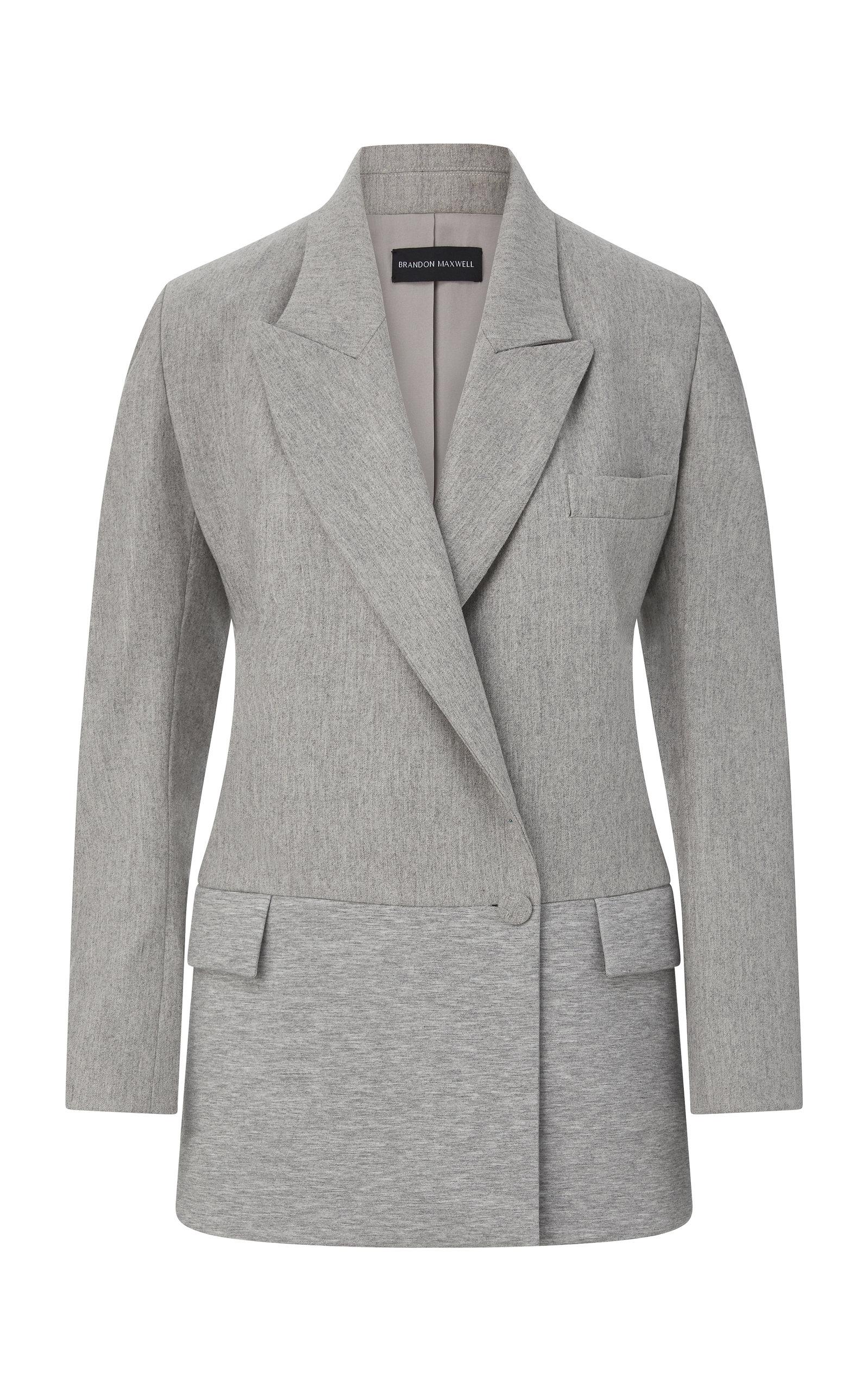 Women's Long Wool-Cashmere Jersey Blazer