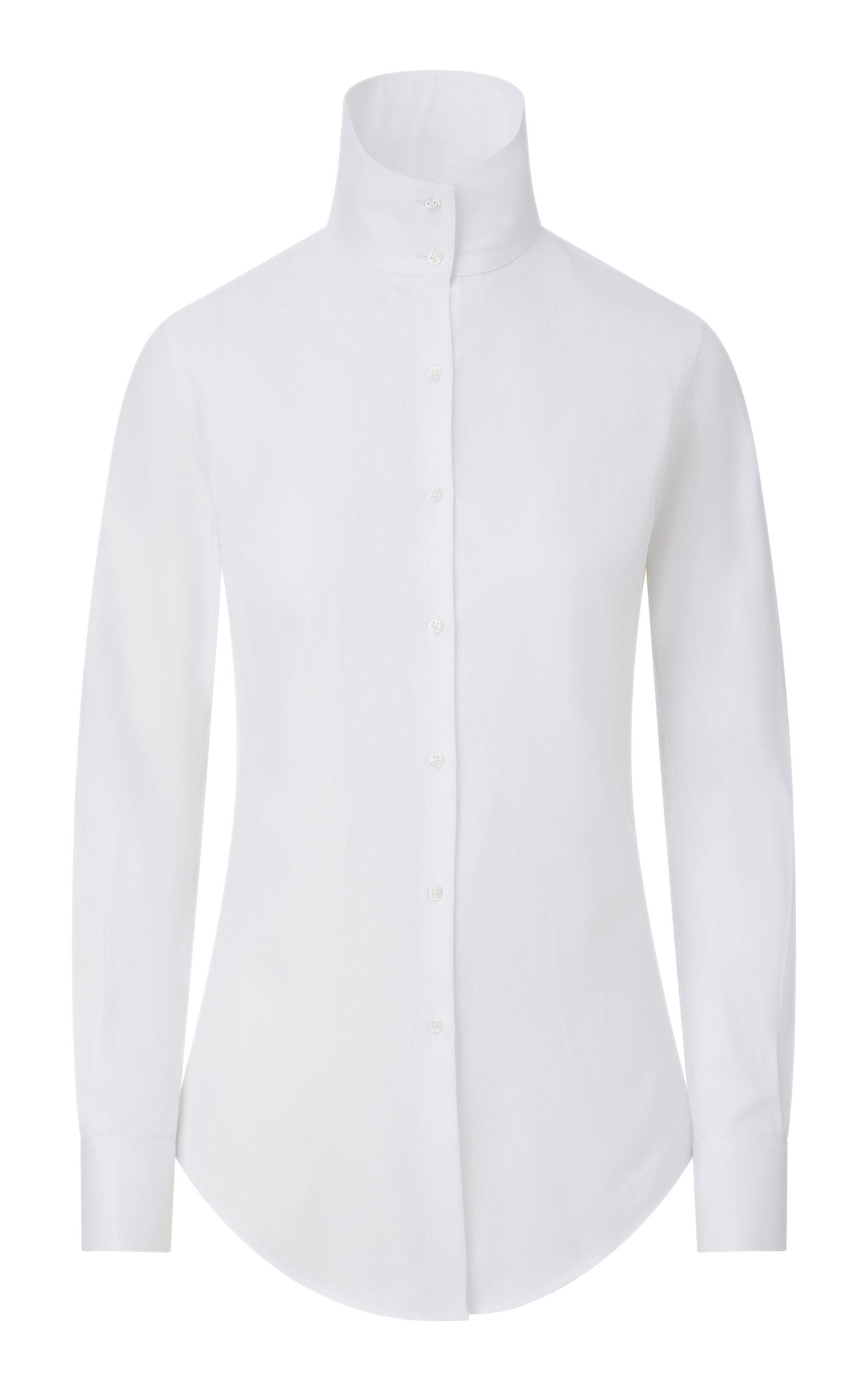Women's Funnel-Neck Cotton Button-Down Shirt