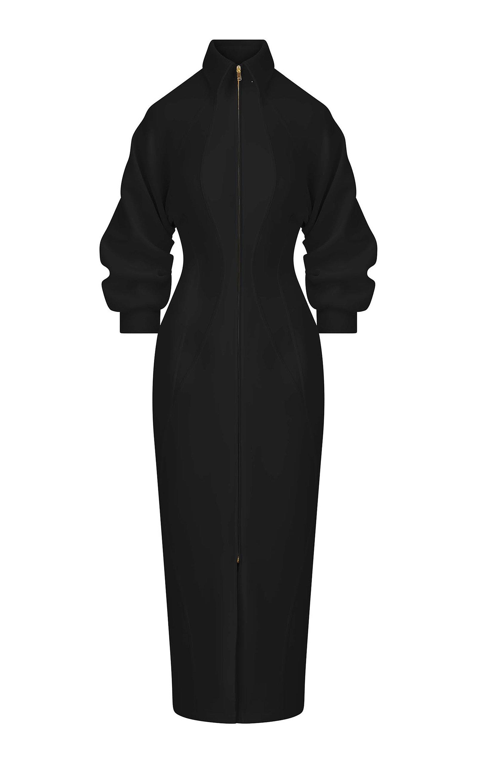 Women's Puff-Sleeve Cady Zip-Front Midi Dress