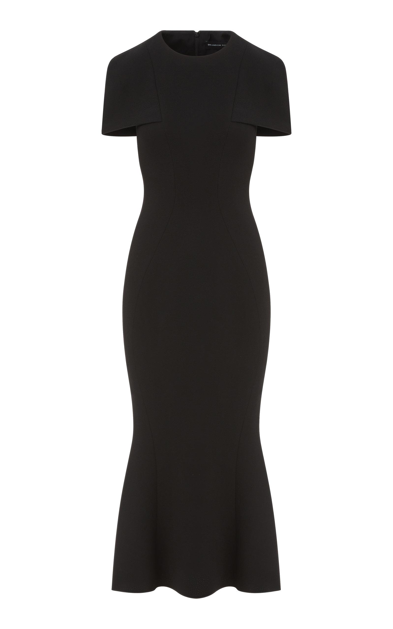 Women's Wool Crepe Midi Capelet Dress
