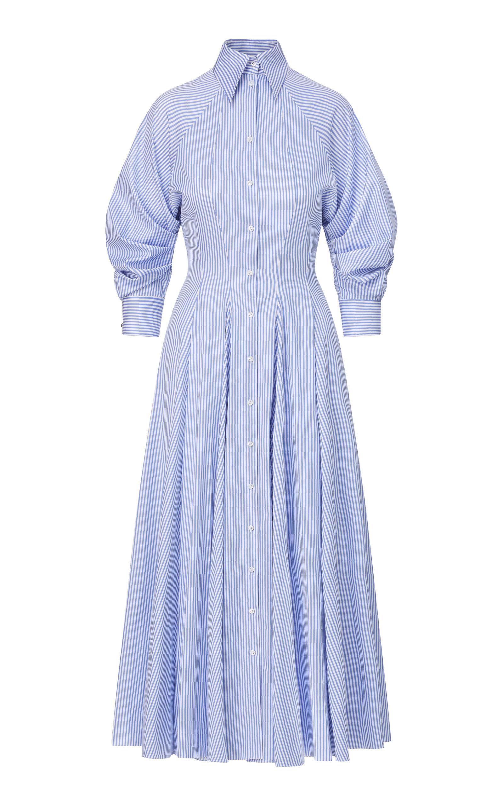 Women's Striped Cotton Maxi Shirt Dress