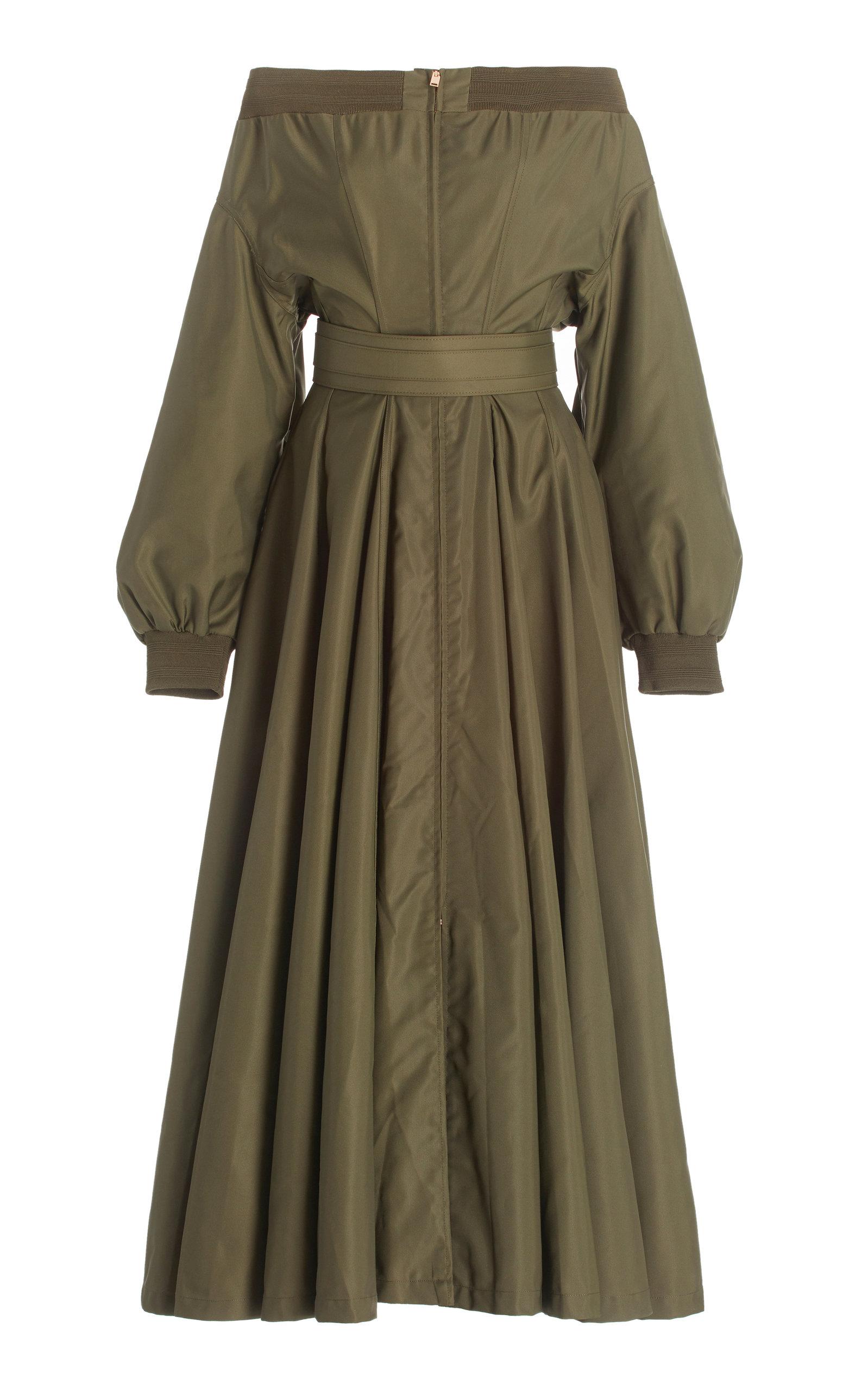 Women's Off-The-Shoulder Taffeta Midi Dress
