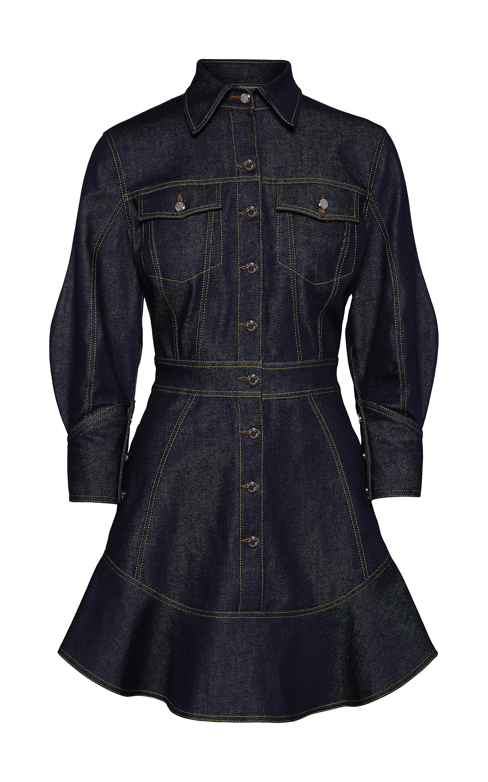 Women's Stretch-Denim Mini Shirt Dress