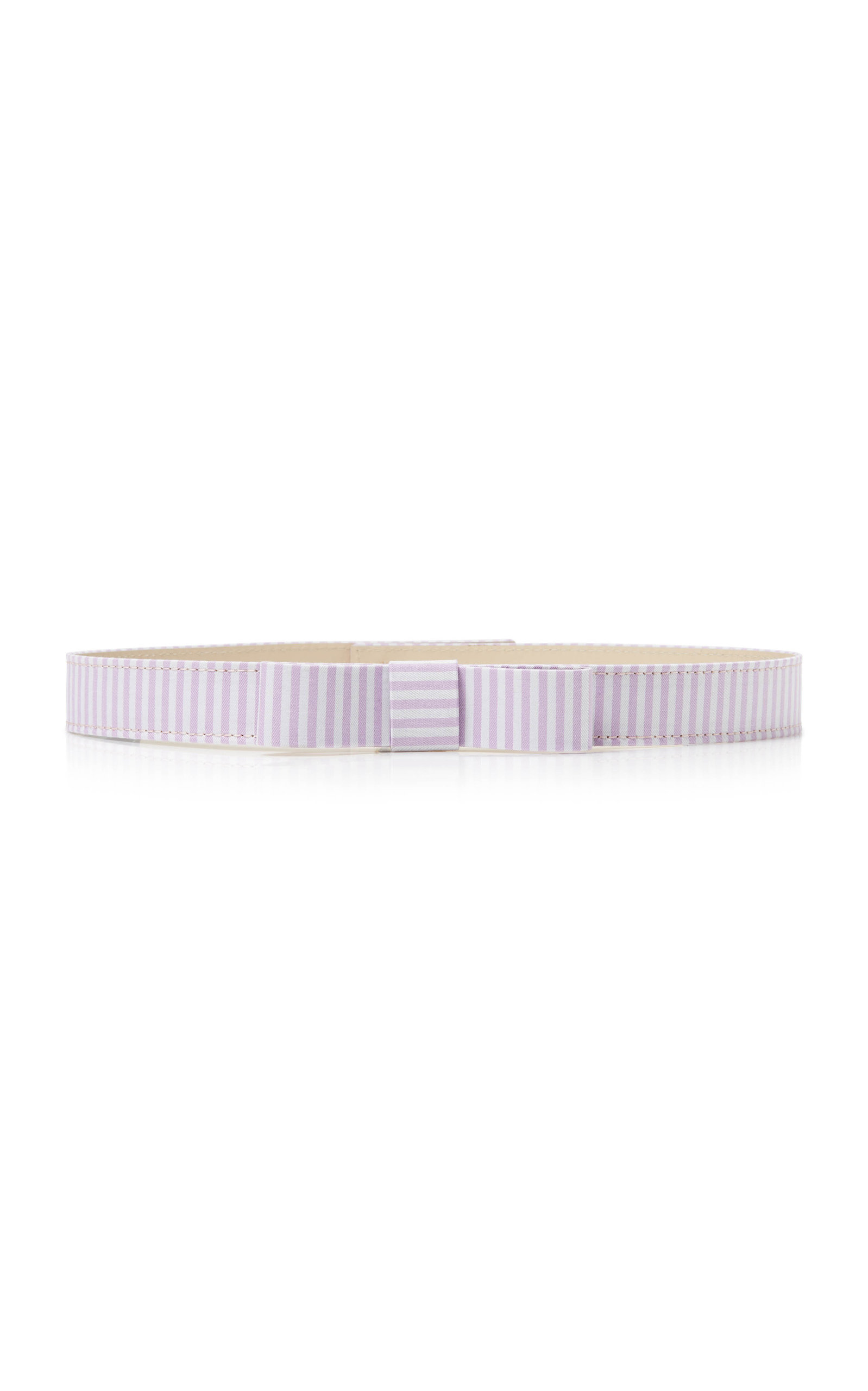 Women's Bow-Accented Striped Cotton Skinny Belt