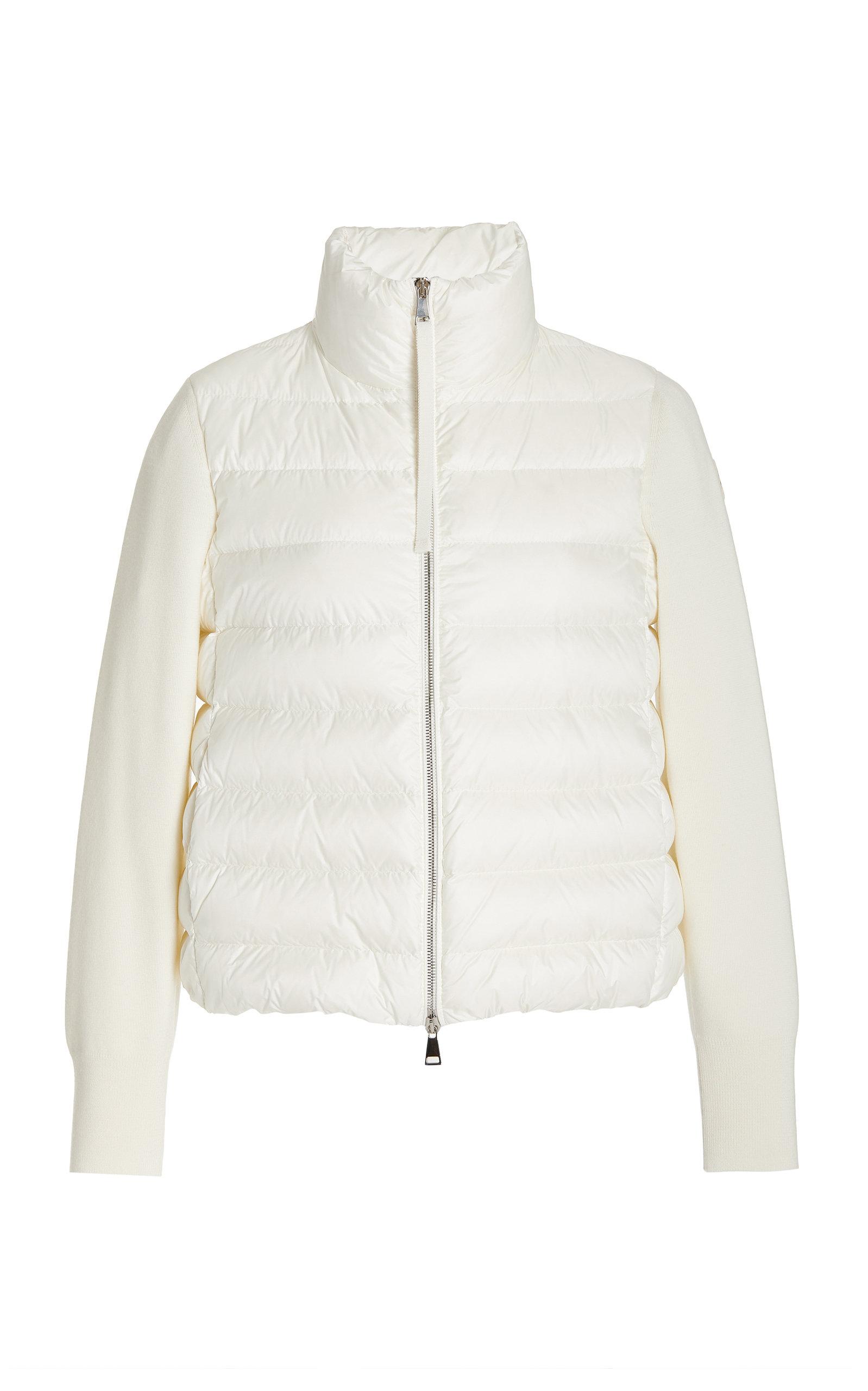 Moncler - Women's Wool-Detailed Down Puffer Jacket - White/blue - Moda Operandi
