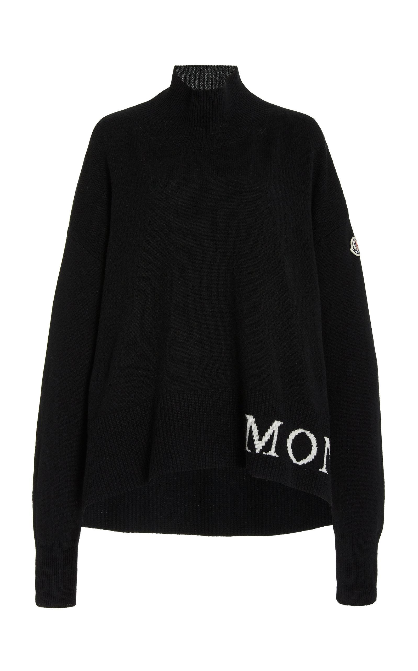 Moncler - Women's Logo-Knit Wool-Cashmere Oversized Sweater - Black - Moda Operandi