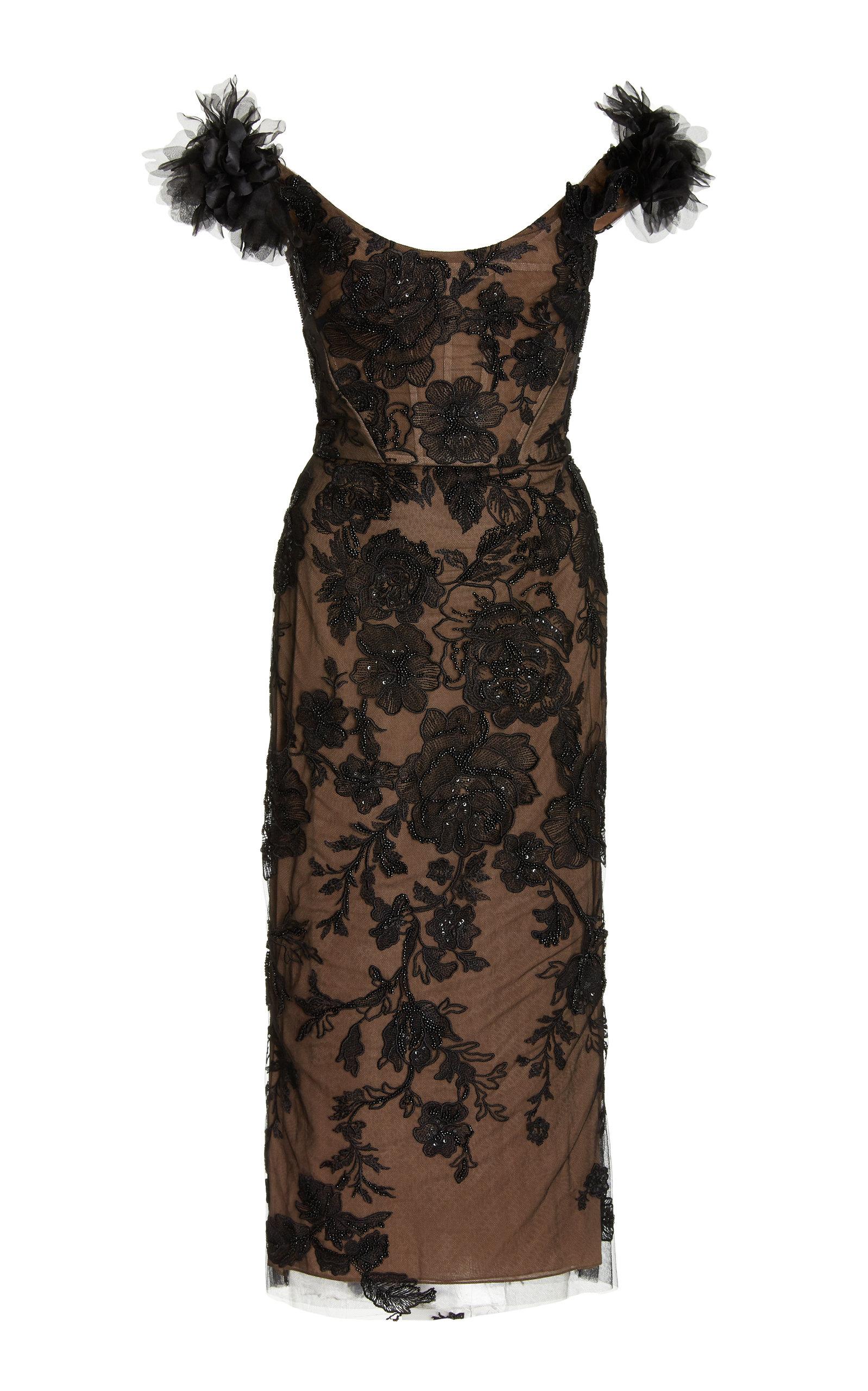 Women's Embellished Lace Midi Dress