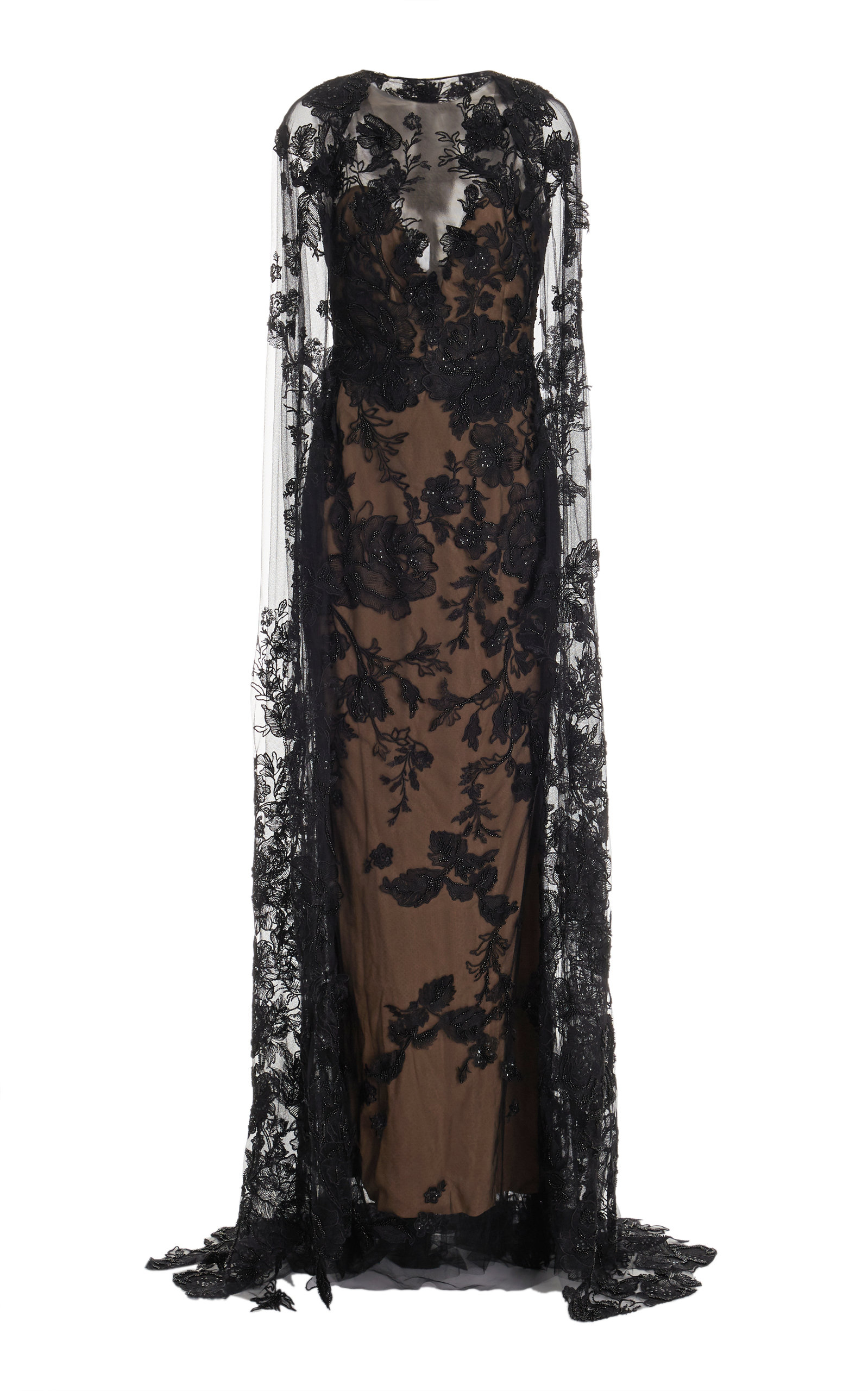 Women's Beaded Floral Lace Cape Gown