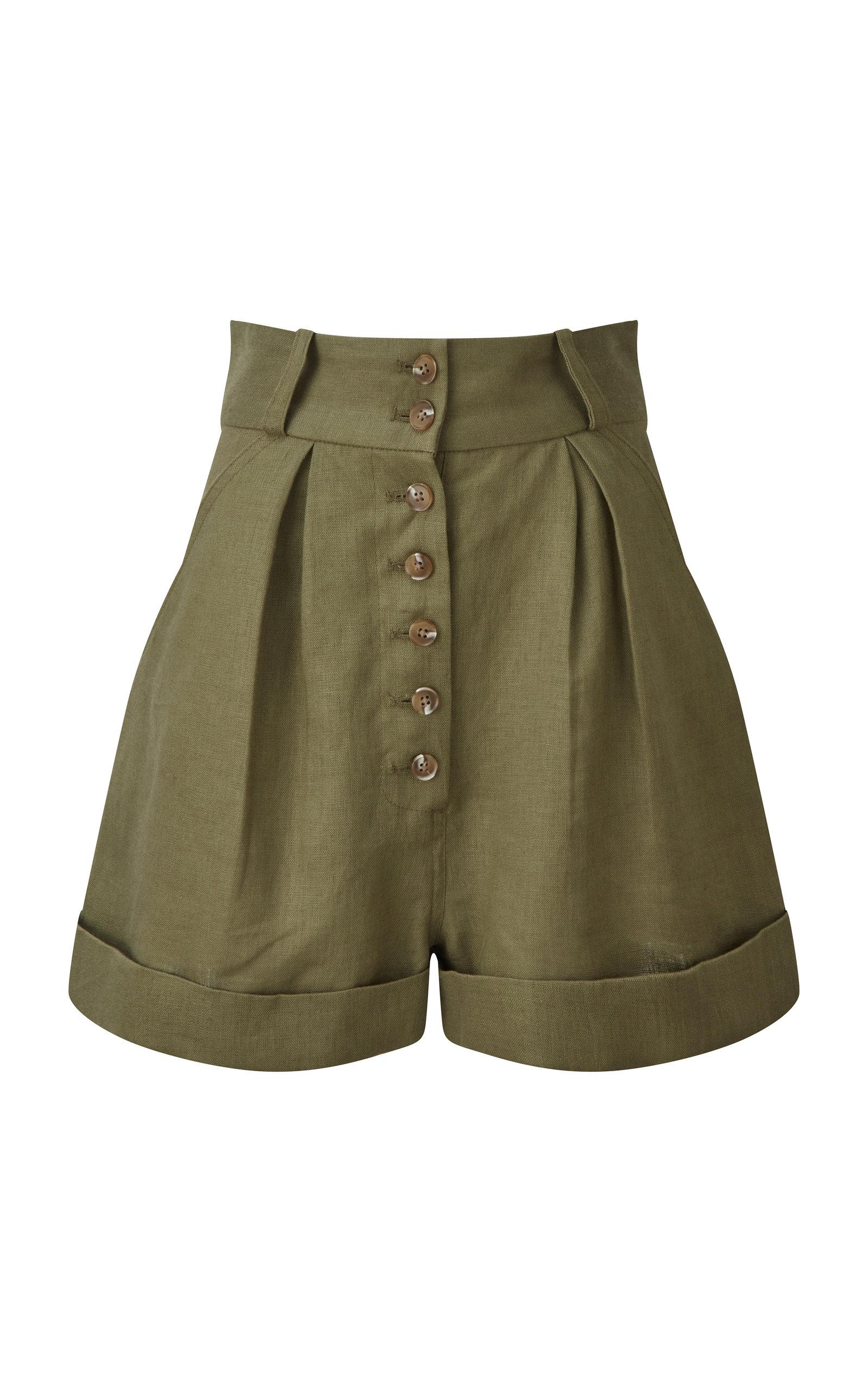 Women's Linen Button Shorts