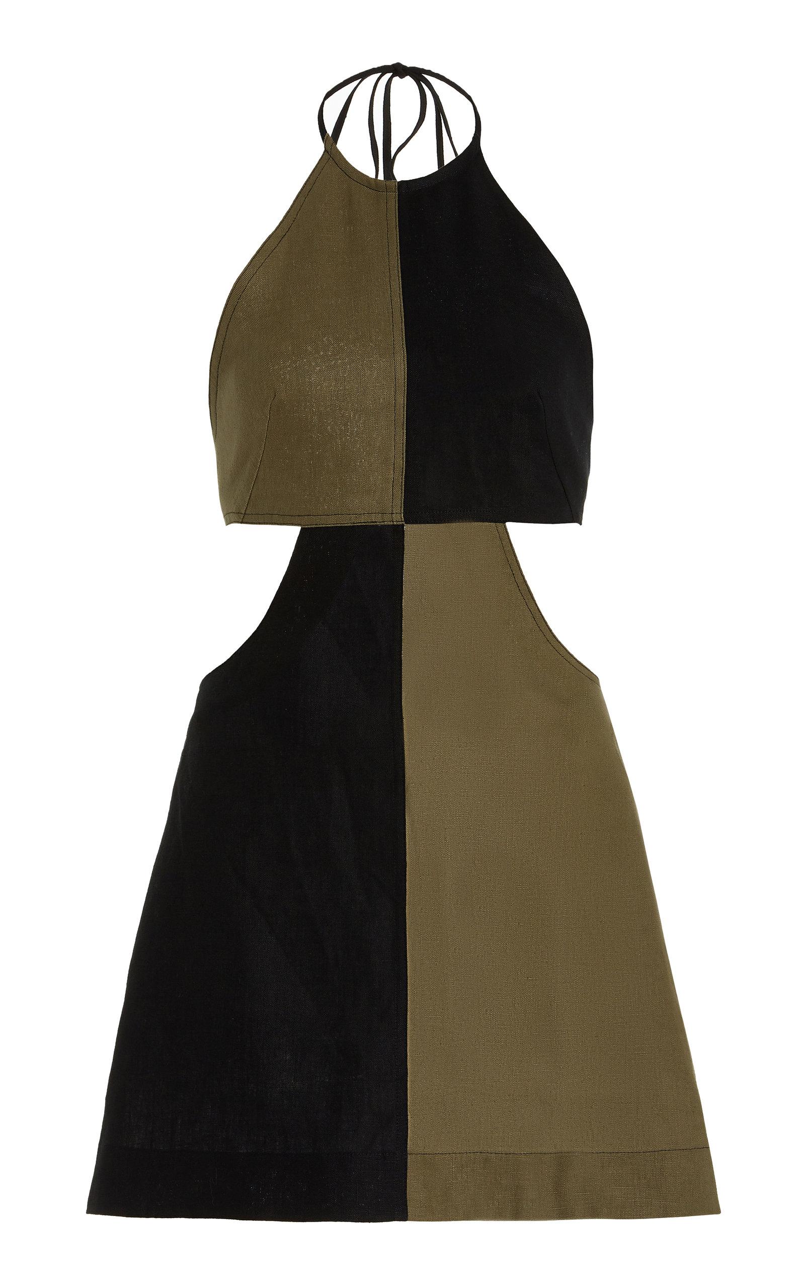 Women's Colorblocked Linen Halter Mini Dress