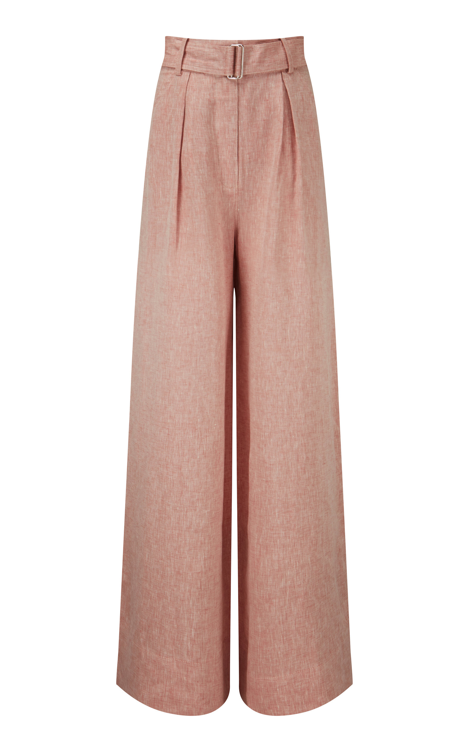 Women's Pleated High-Rise Linen Wide-Leg Pants