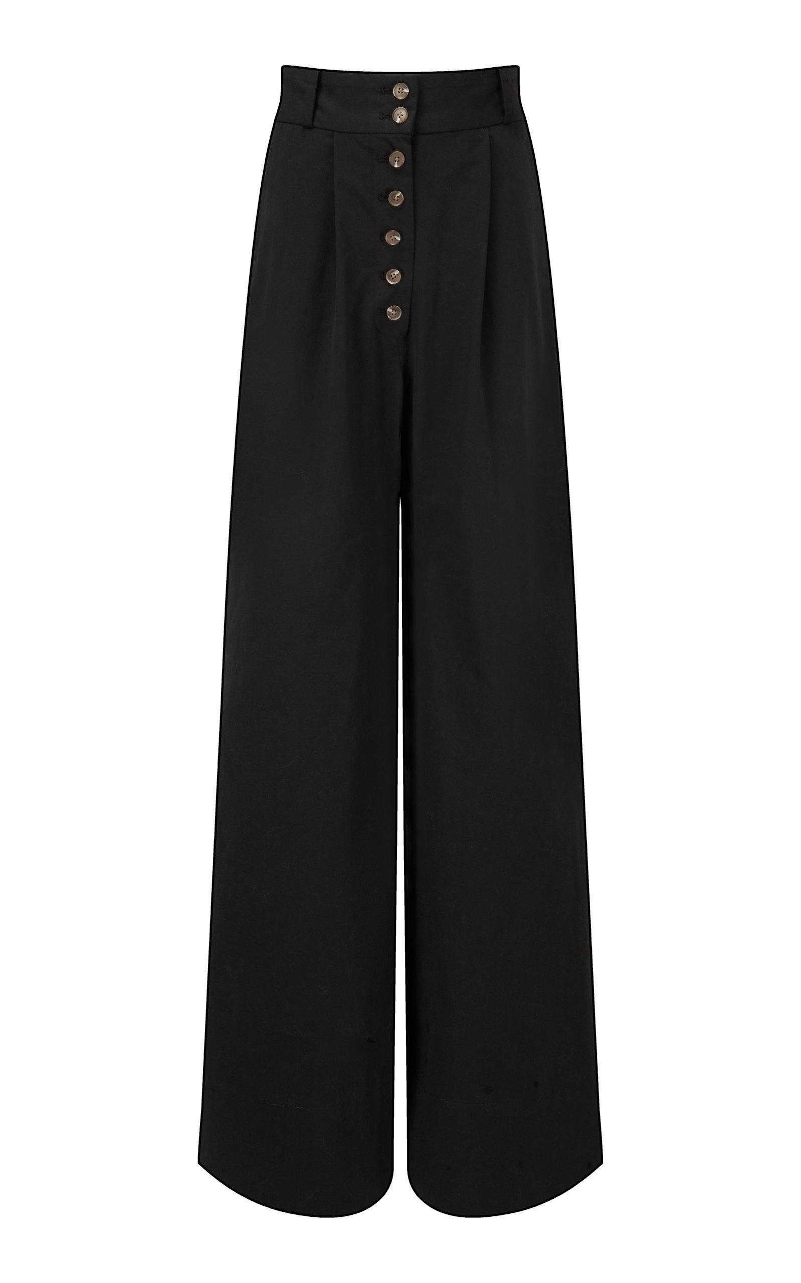 Women's Cotton Twill Wide-Leg Pants