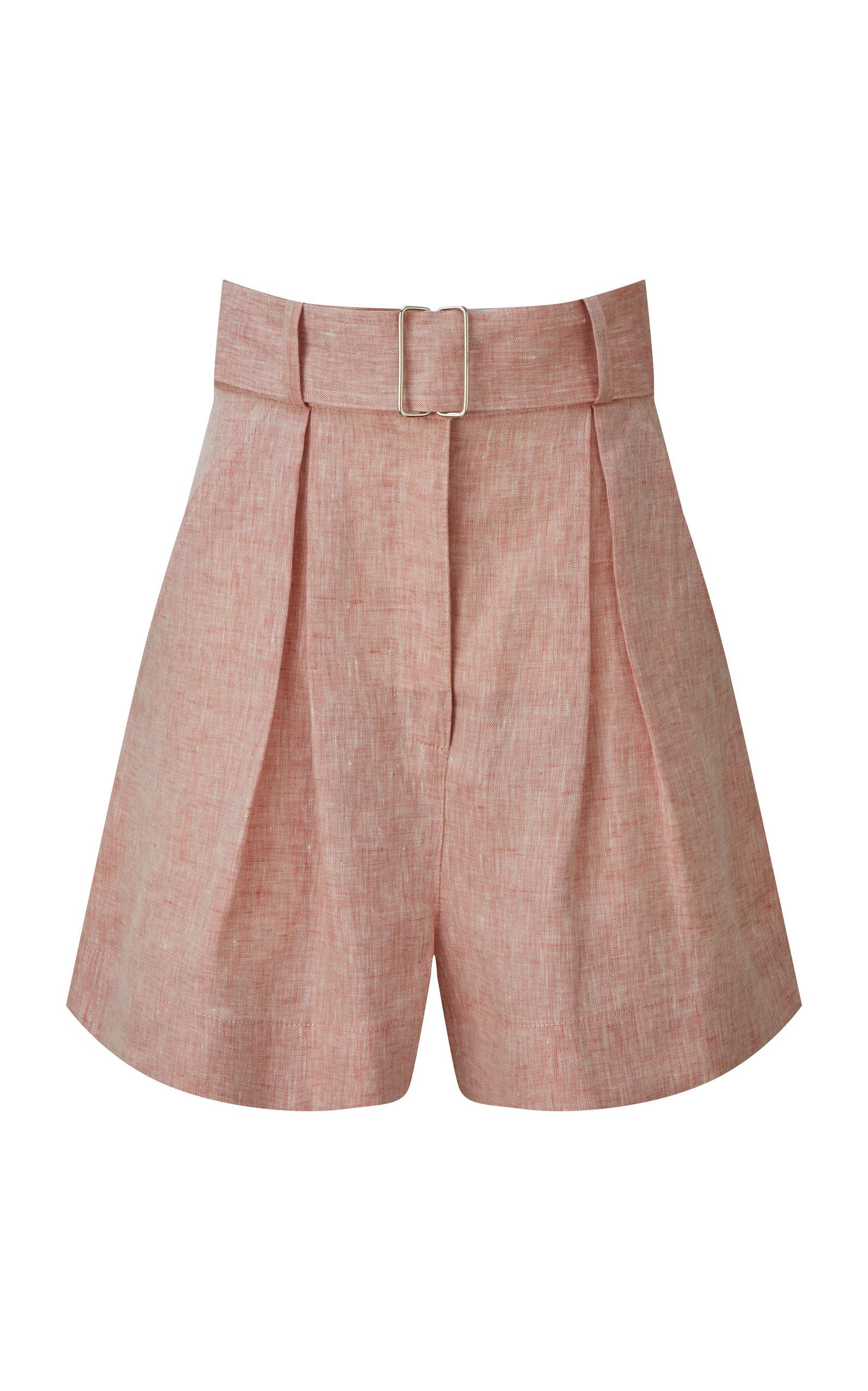 Women's Pleated Linen Shorts