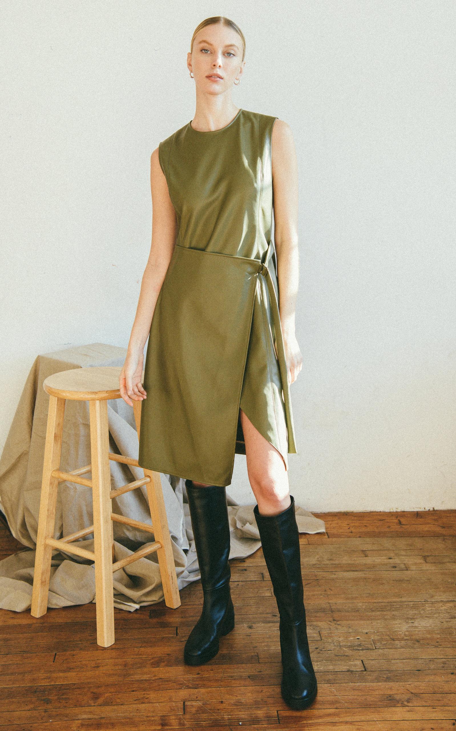 Women's Elin Wrap-Effect Faux Leather Dress