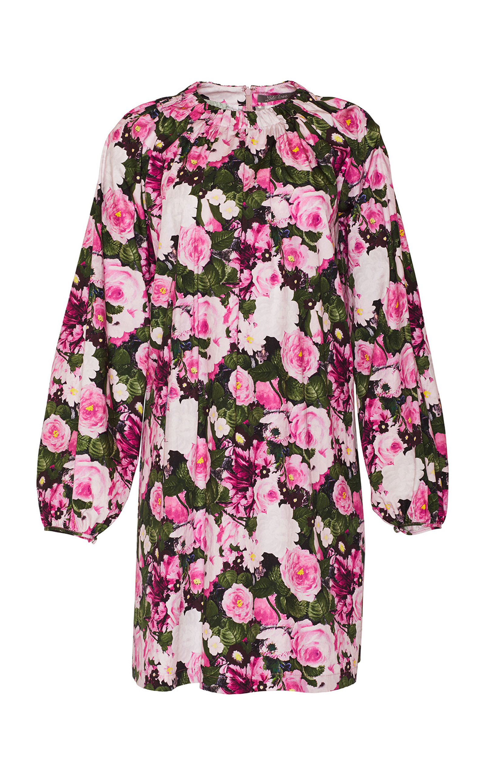 Women's Floral Printed Cotton Tunic Dress With Ruched Neckline