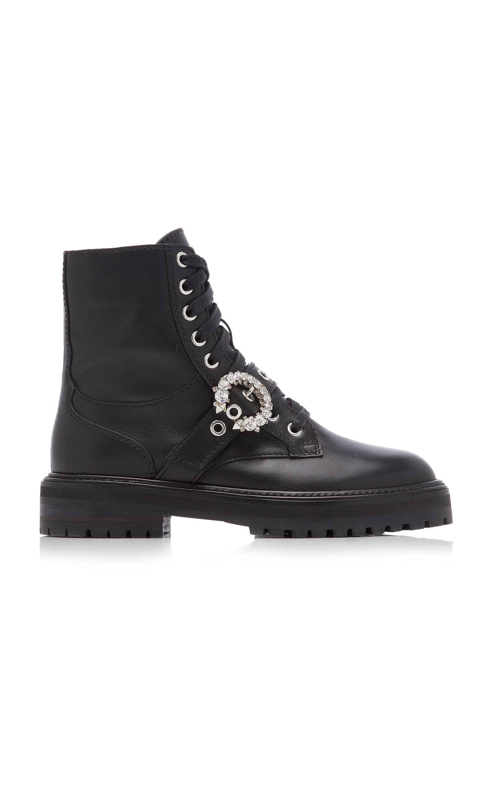 Jimmy Choo - Women's Cora Embellished Leather Combat Boots - Black - Moda Operandi