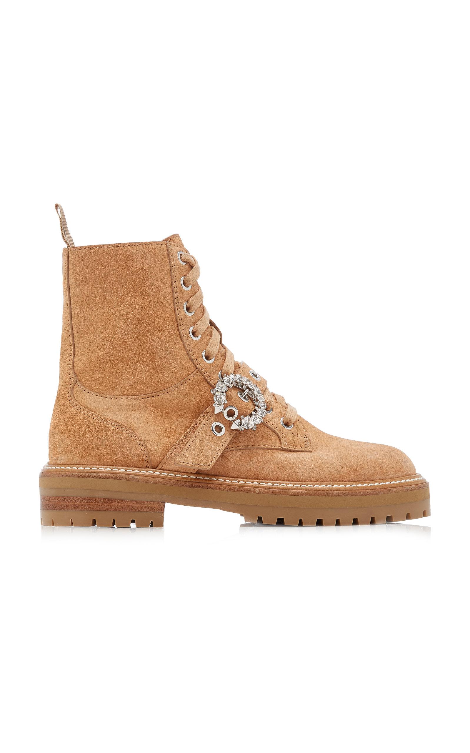 Jimmy Choo - Women's Cora Embellished Suede Combat Boots - Brown - Moda Operandi