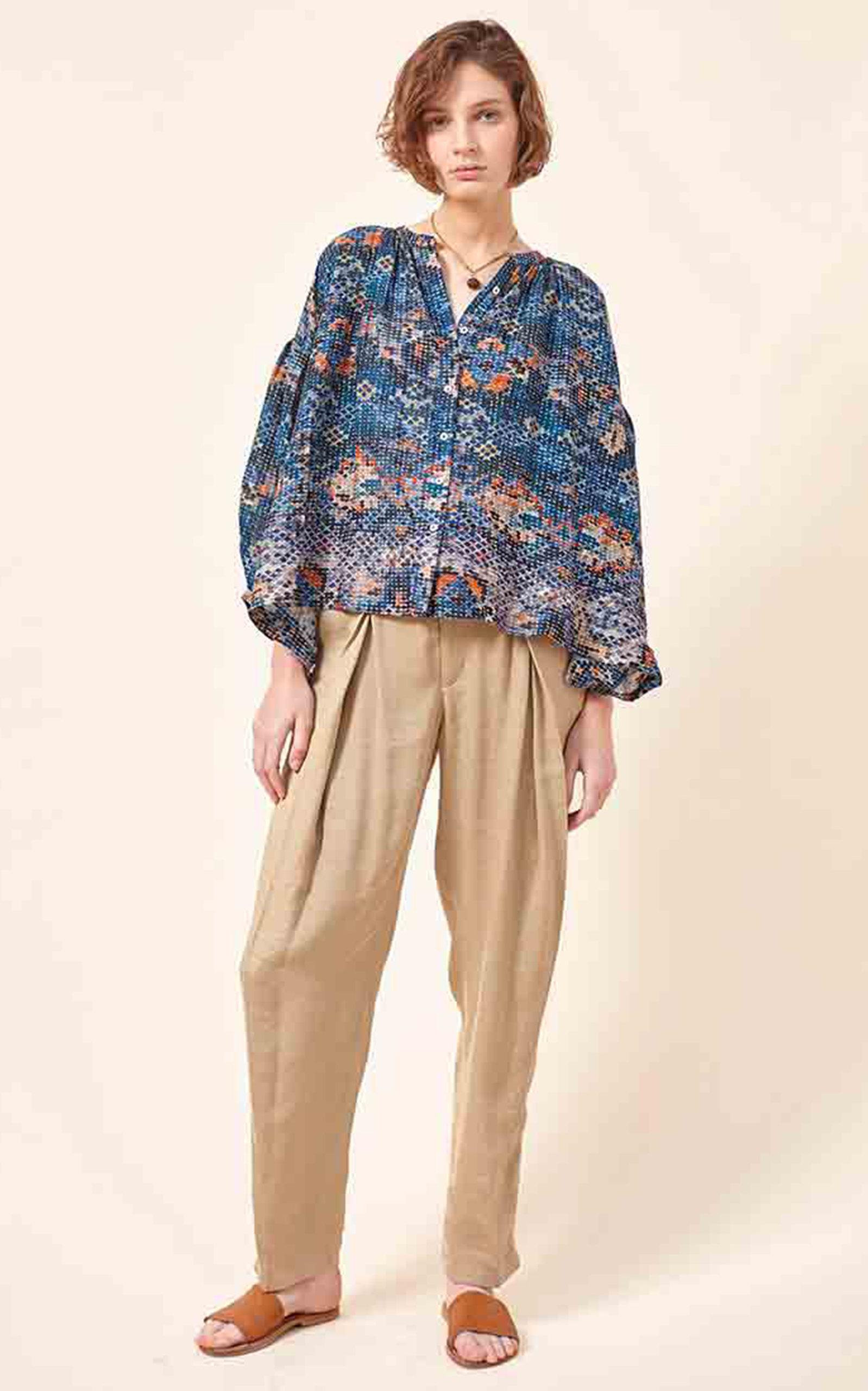 Women's Luiza Printed Cotton-Silk Blend Blouse