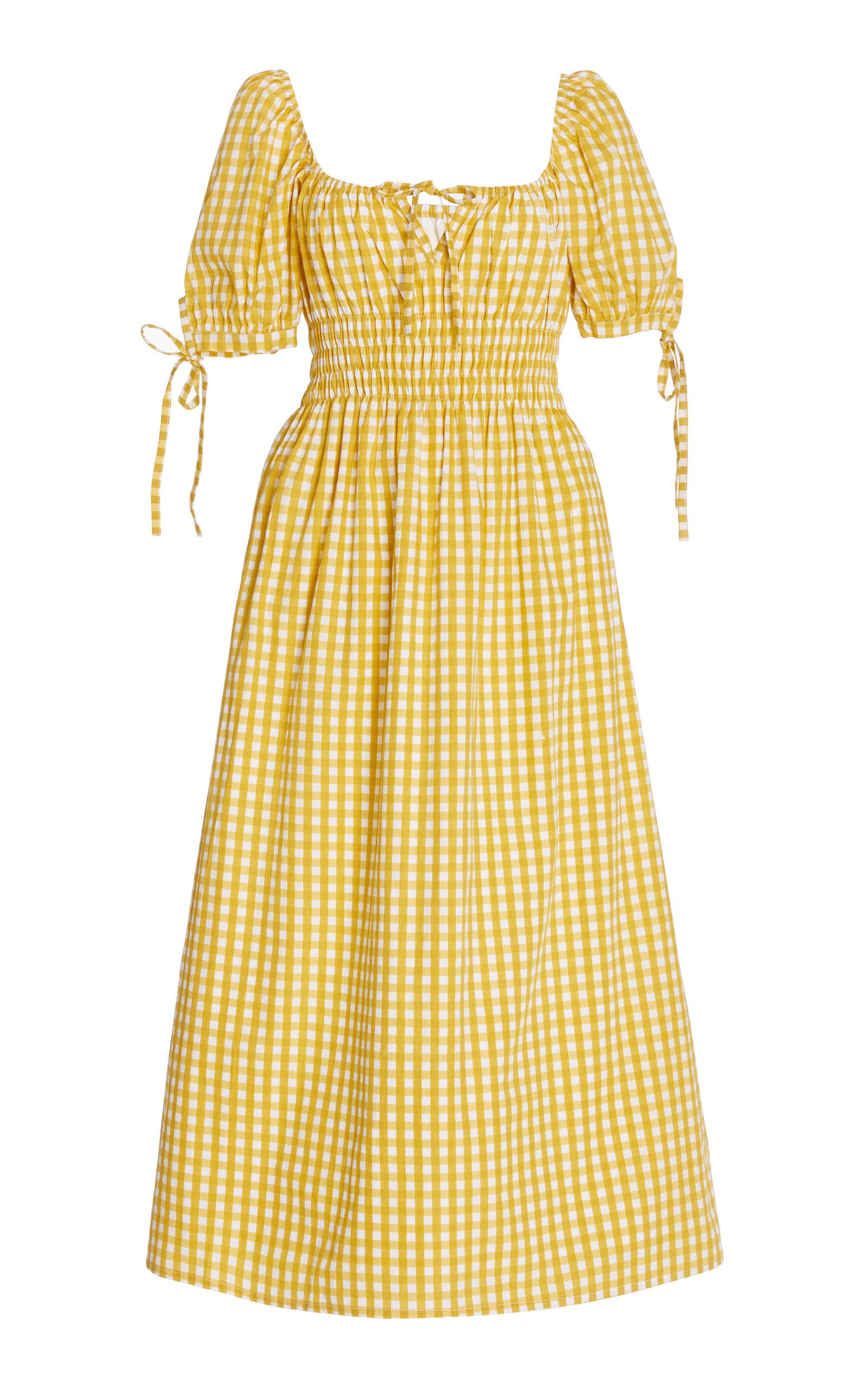 Women's Flora Checked Cotton Midi Dress