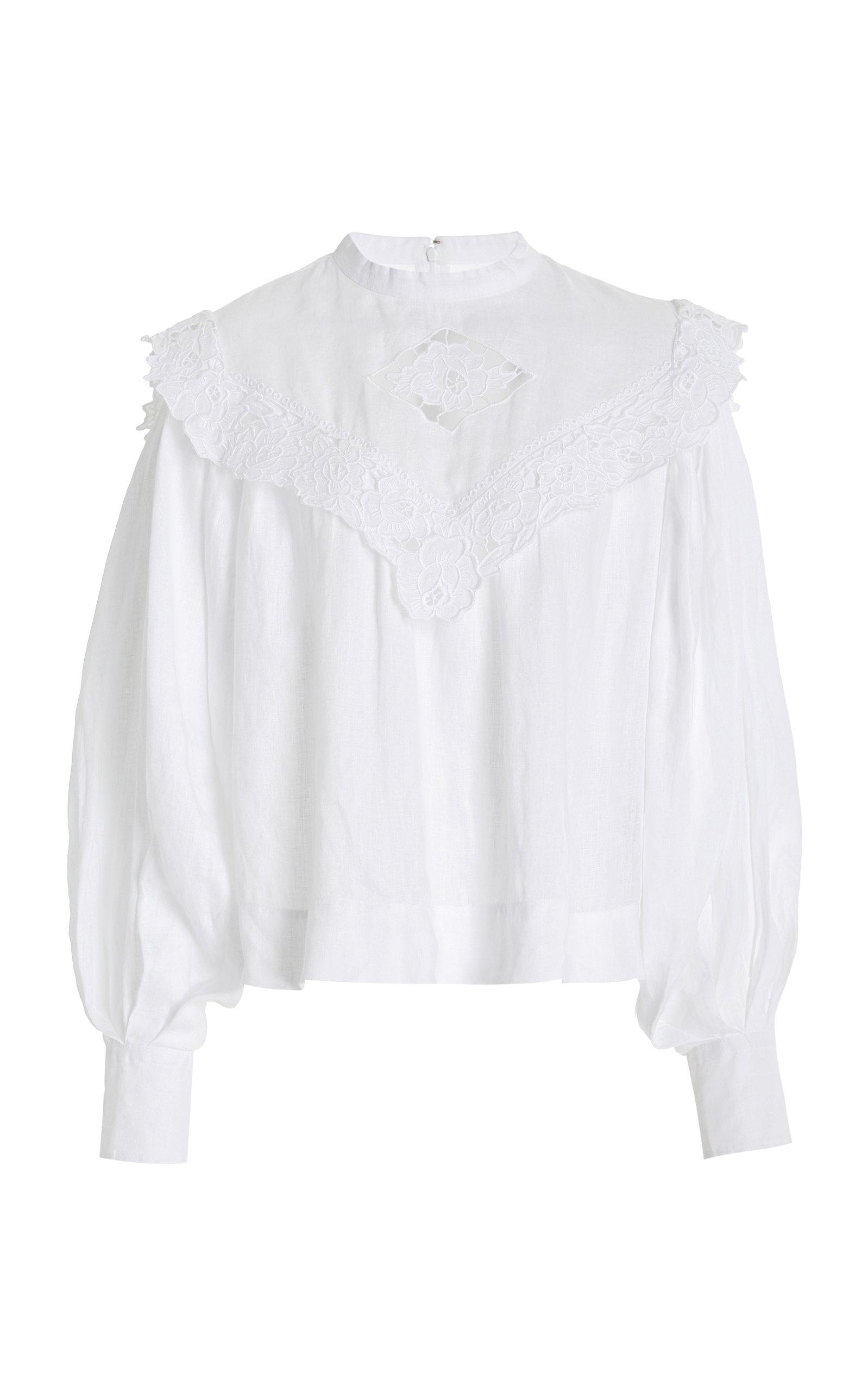 Women's Elija Lace-Trimmed Linen Top