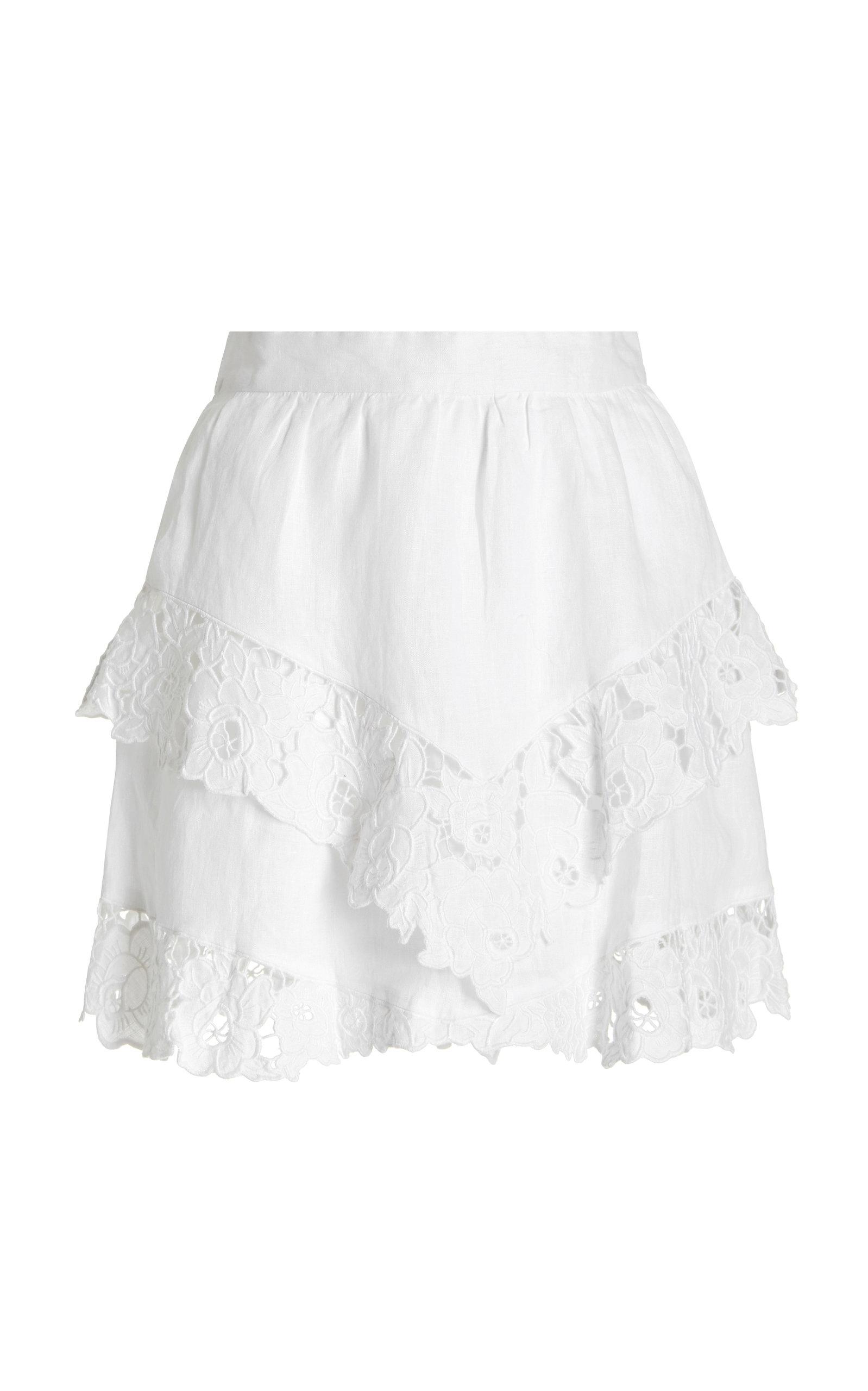 Women's Enali Lace-Trimmed Linen Mini Skirt