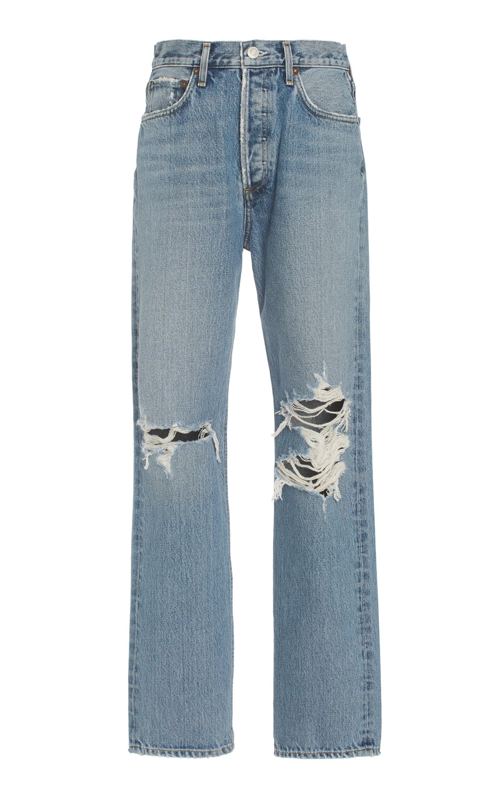Agolde - Women's 90's Pinch-Waist Rigid High-Rise Organic Cotton Straight-Leg Jeans - Medium Wash - Moda Operandi