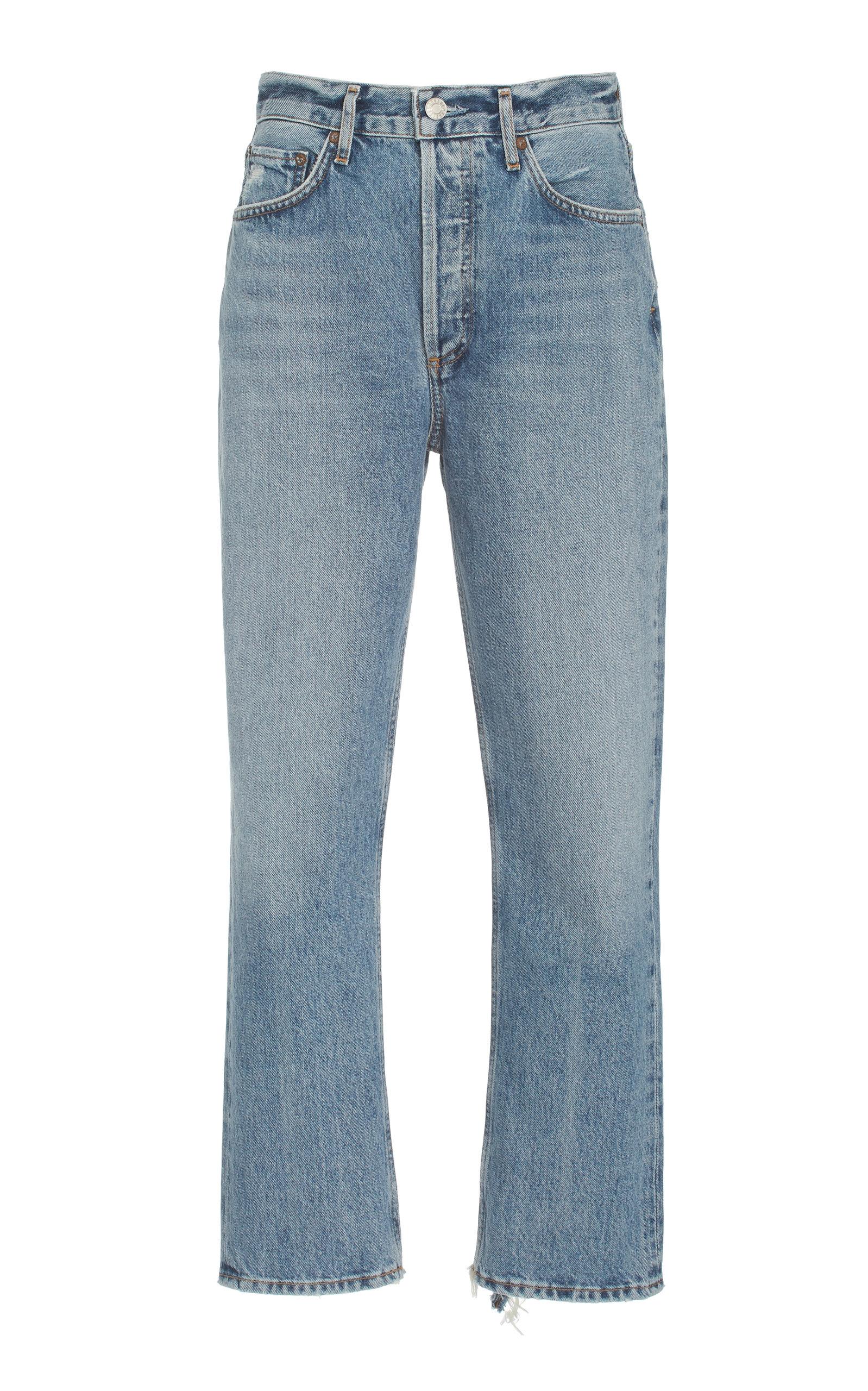 Agolde - Women's Riley Rigid High-Rise Cropped Organic Cotton Straight-Leg Jeans - Medium Wash - Moda Operandi