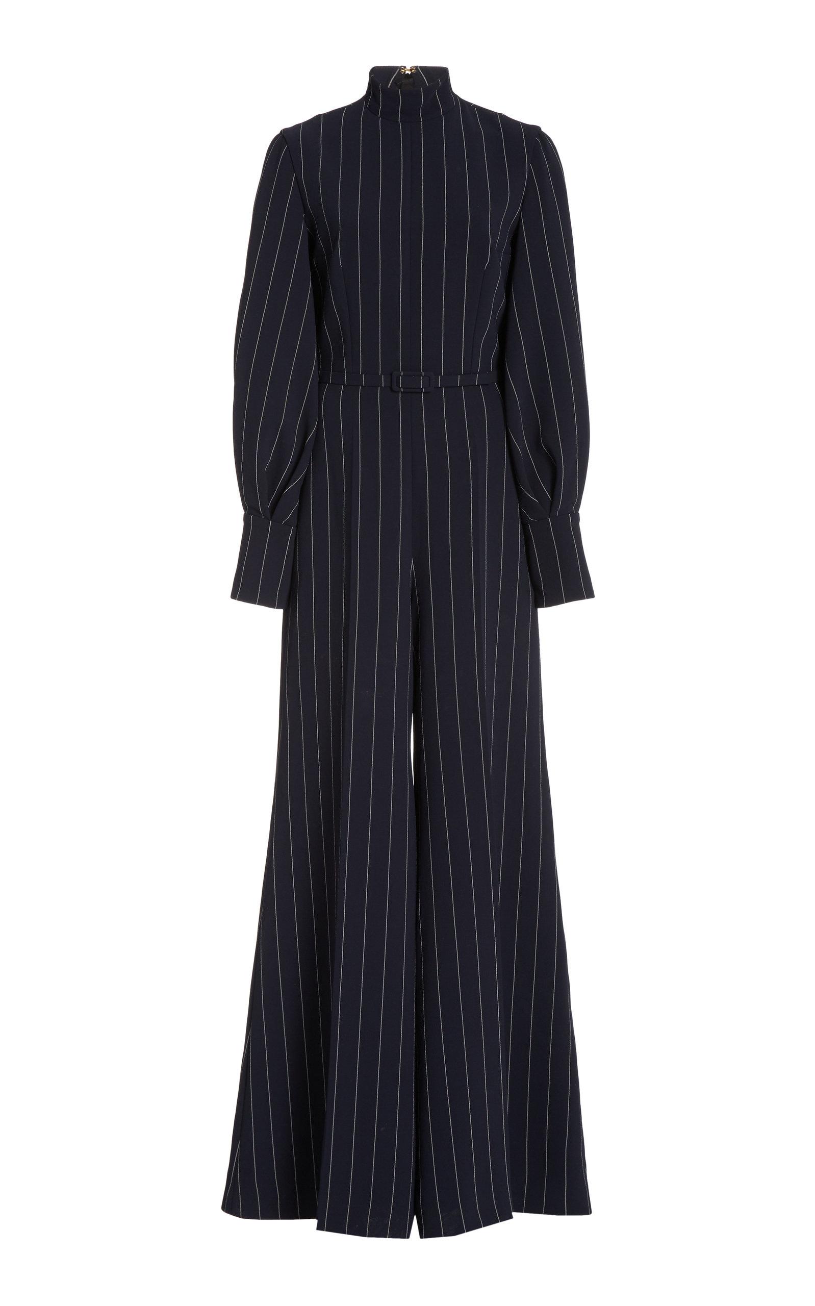Women's Elvis Pin-Striped Crepe Jumpsuit