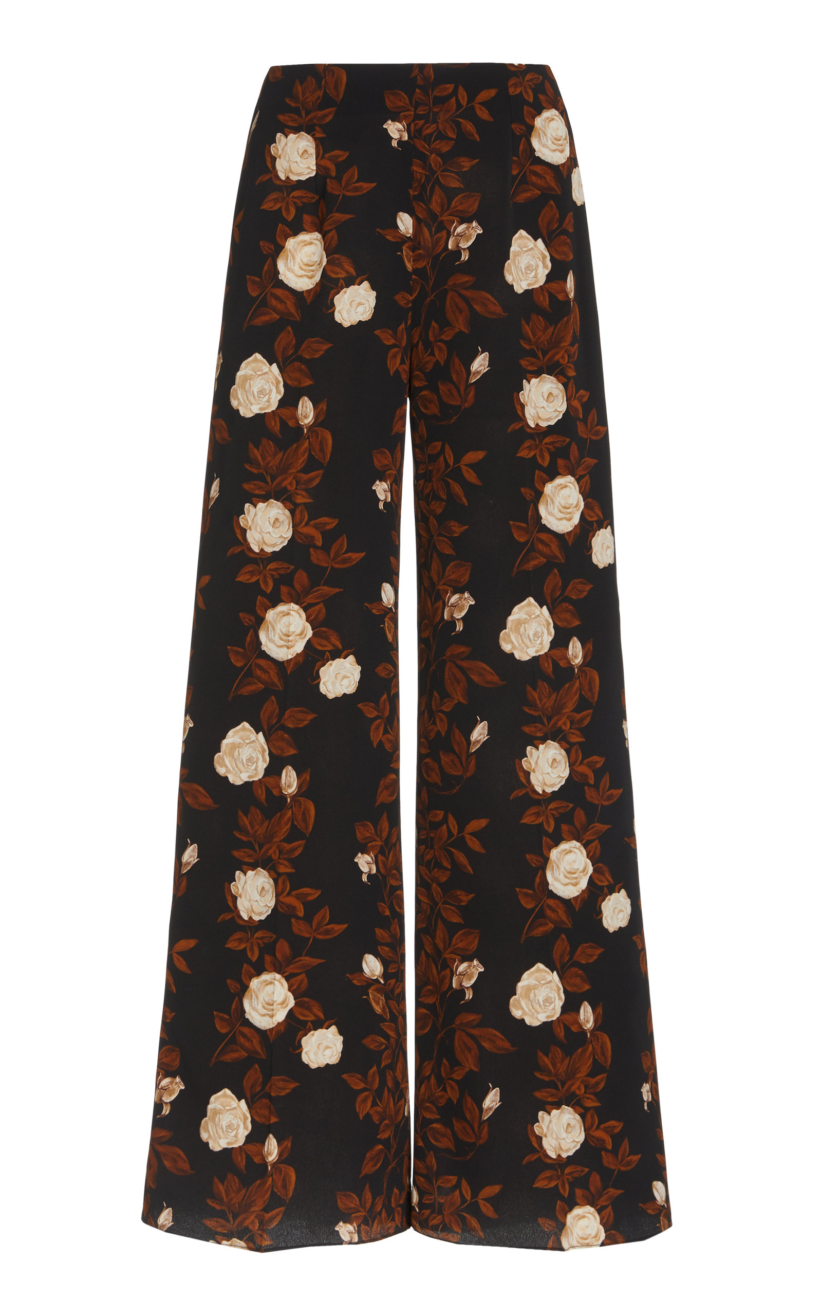 Women's Hullinie Floral Crepe Georgette Flared-Hem Pants