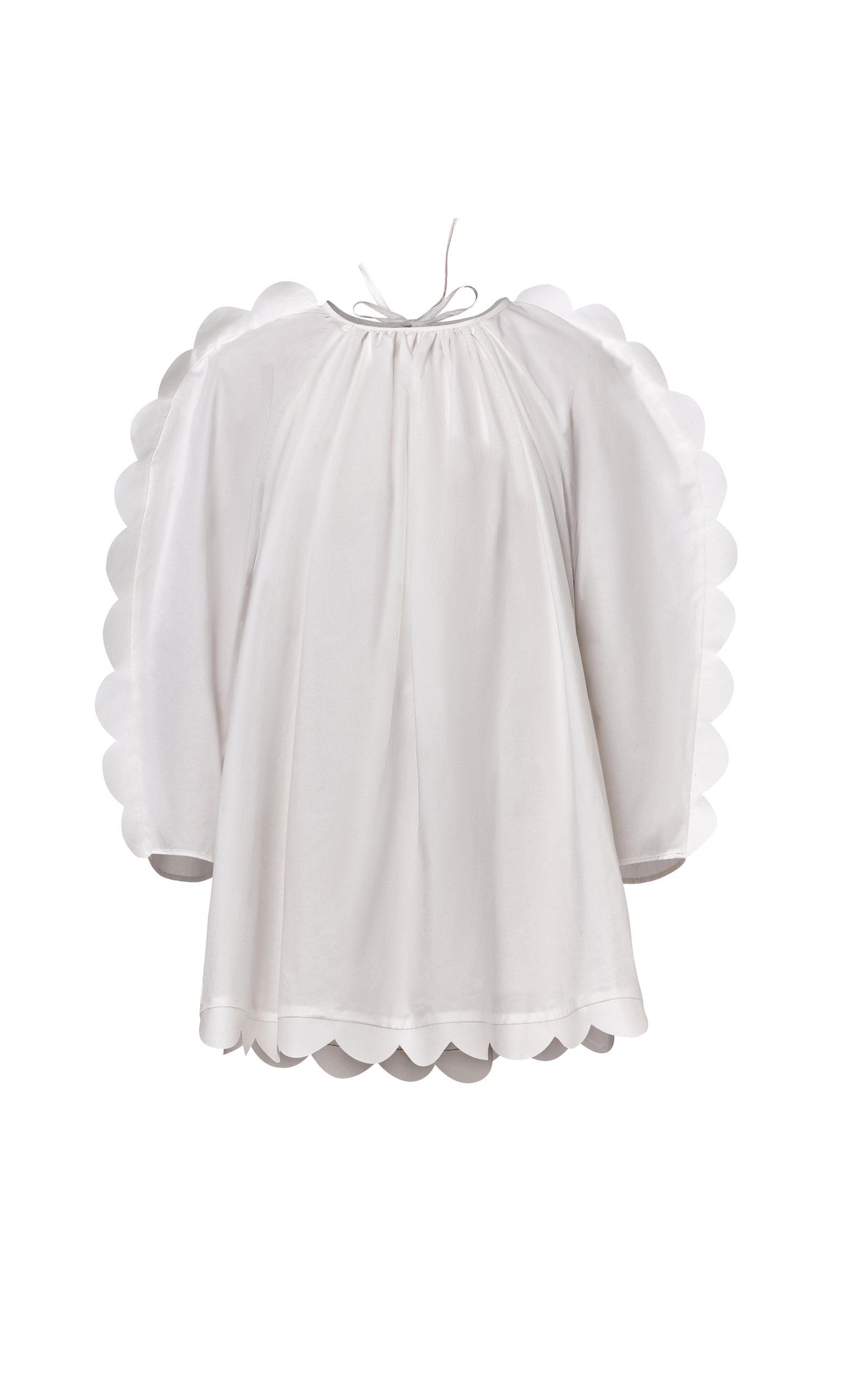 Naya Rea Daria Scalloped Cotton Poplin Dress In White