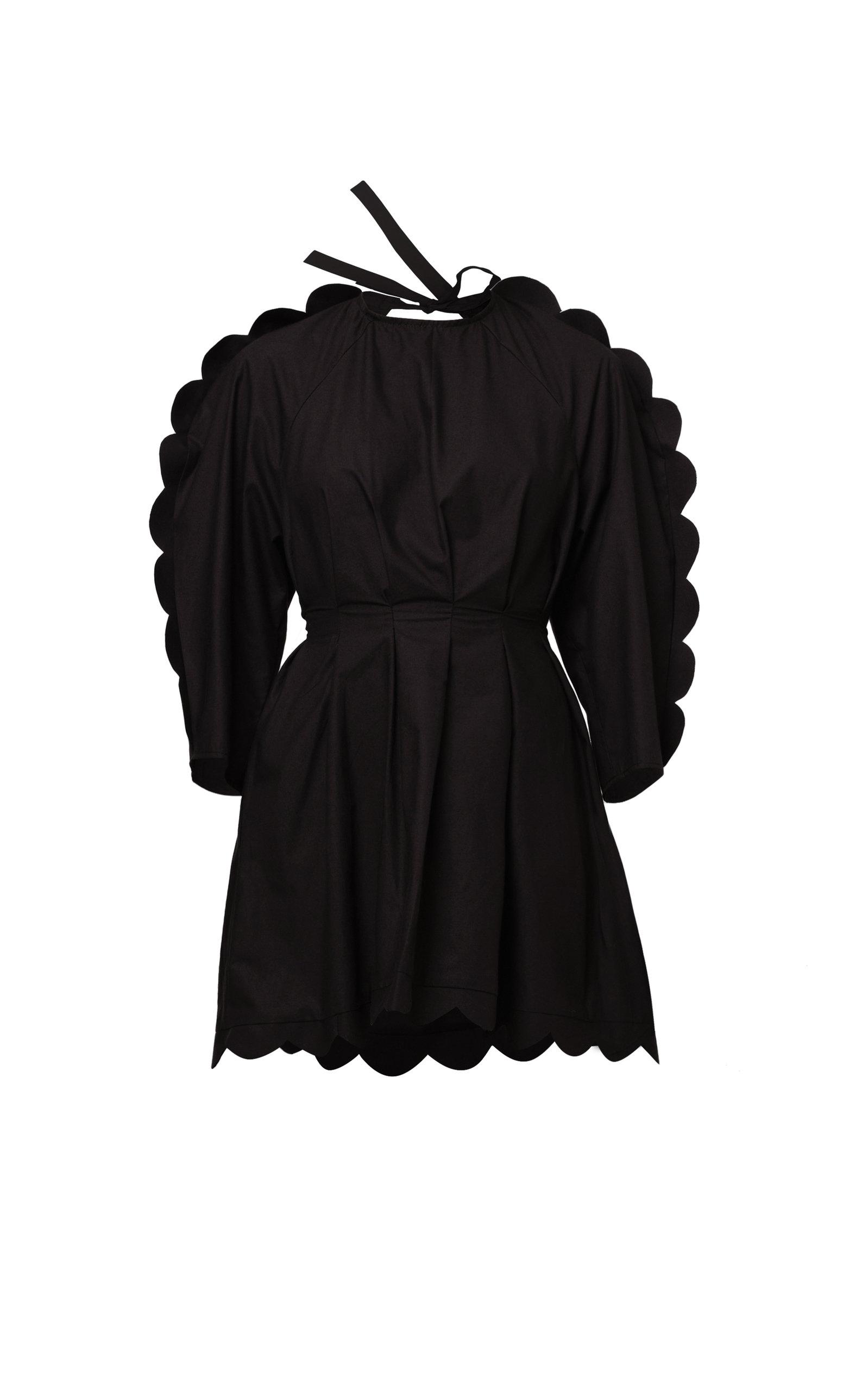 Naya Rea Alya Scalloped Cotton Poplin Dress In Black