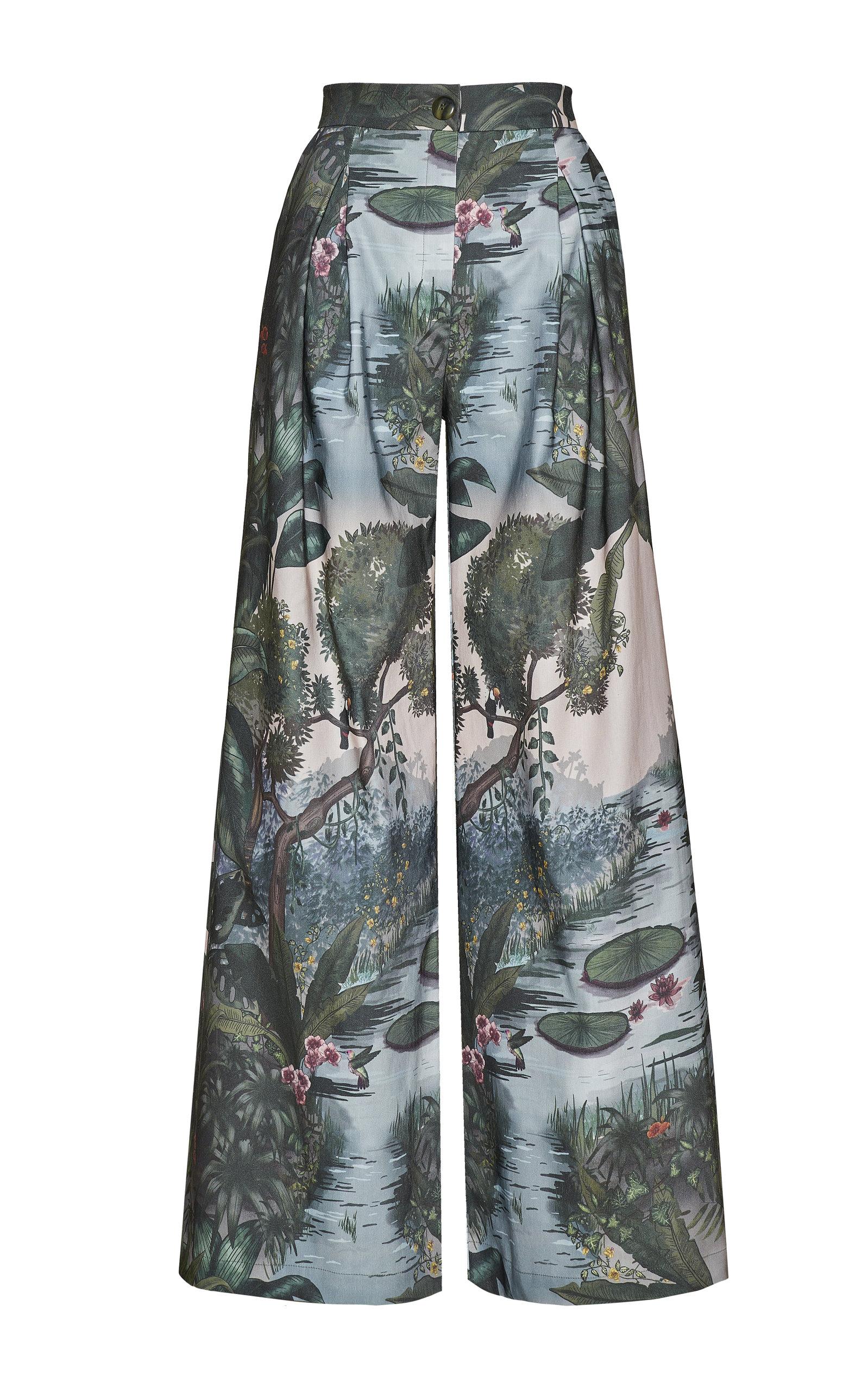 Women's Paisajes Printed Wide-Leg Cotton Pants