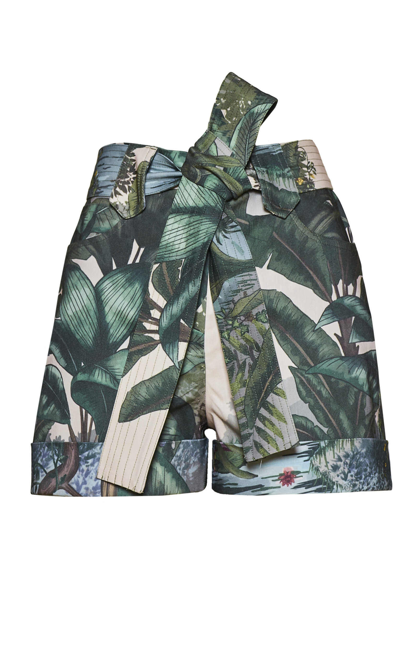 Women's Titi Belted Printed Cotton Shorts