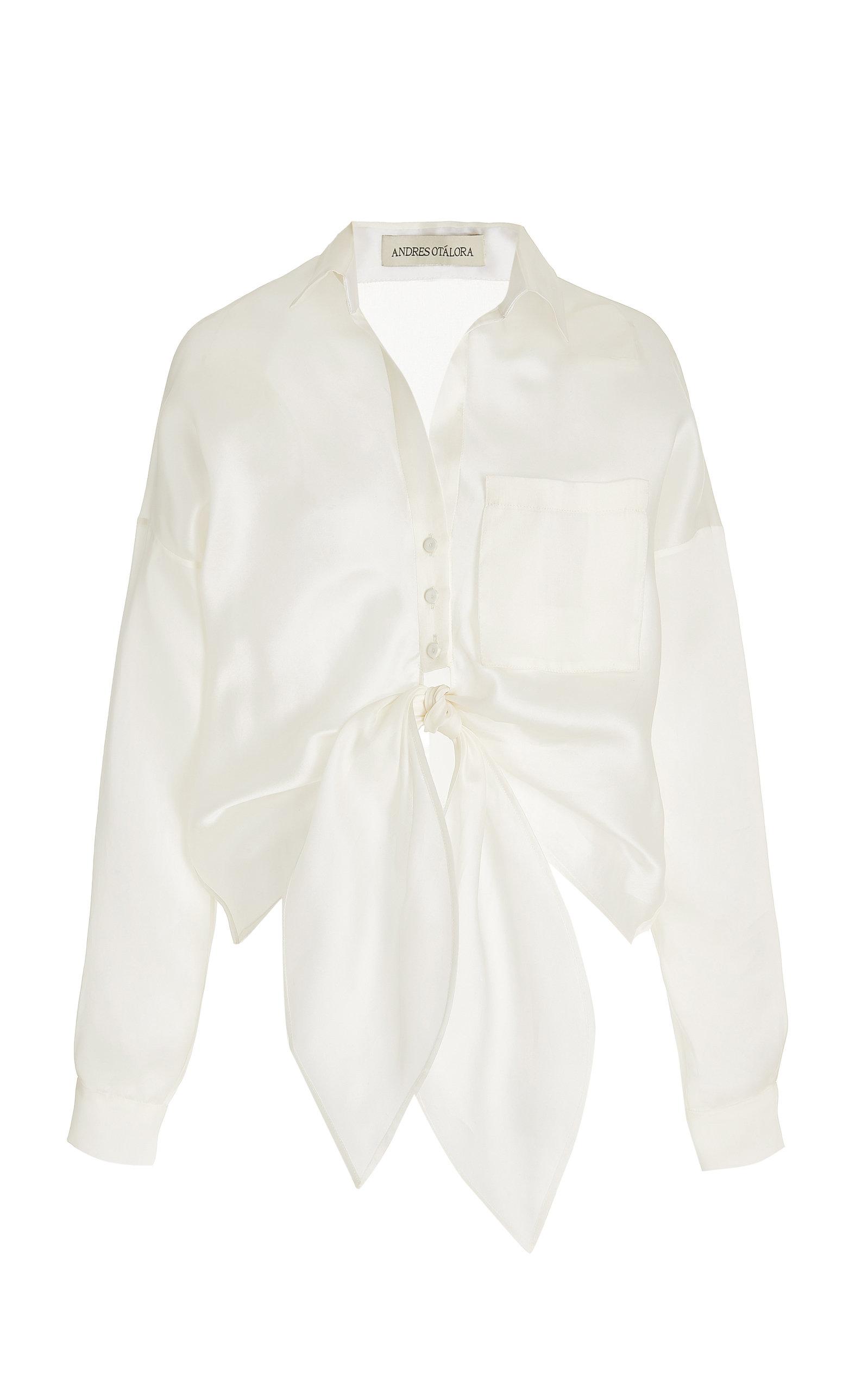 Women's Macedonia Oversized Tie-Front Silk Shirt