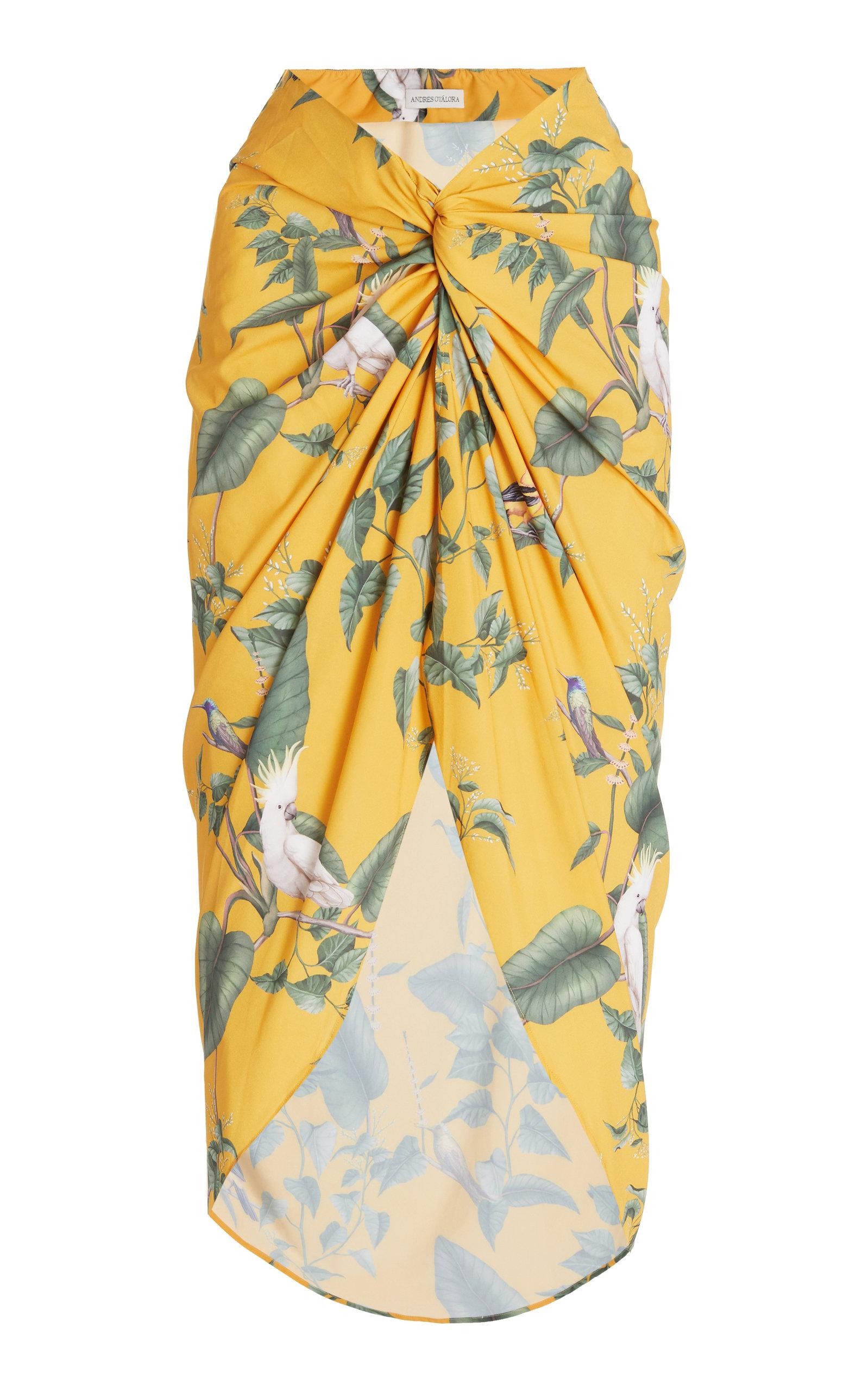 Women's Loto Printed Crepe Pareo Skirt