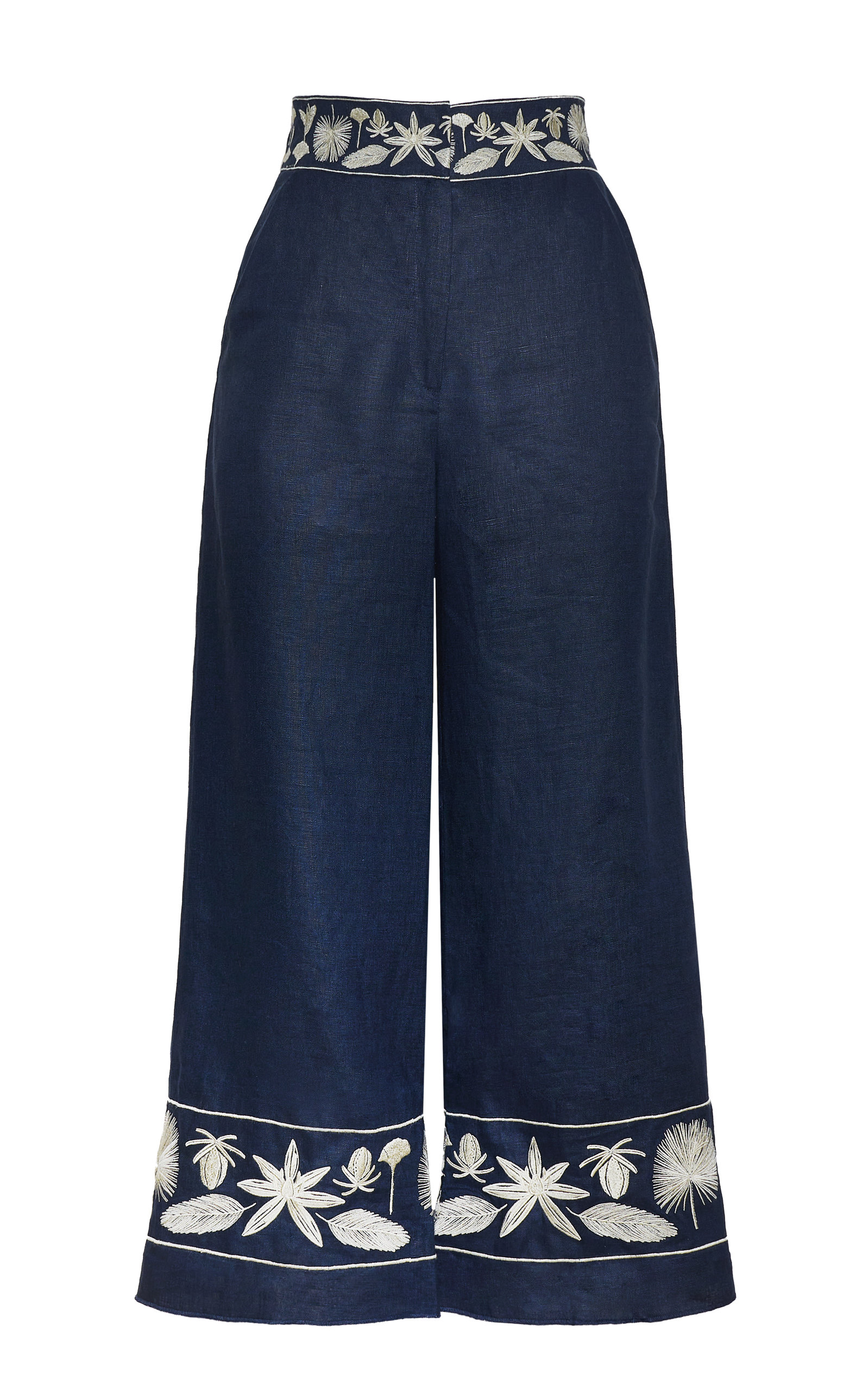 Women's Cacao Embroidered Linen Pants