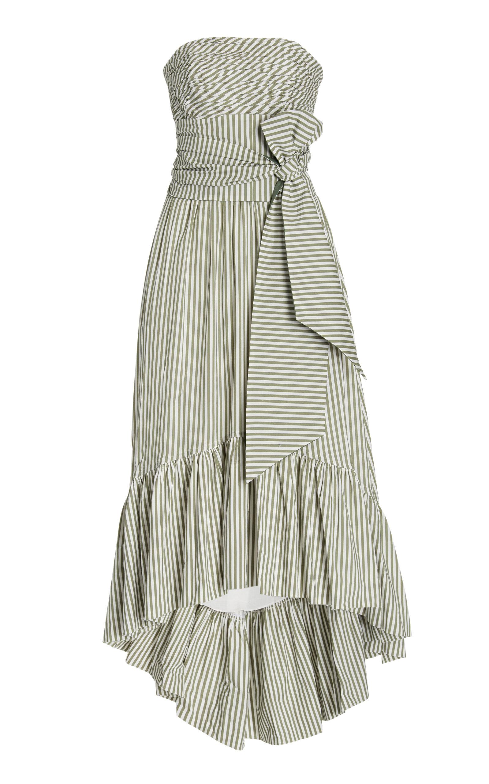 Andres Otalora Caiman Belted Cotton Midi Dress In Stripe