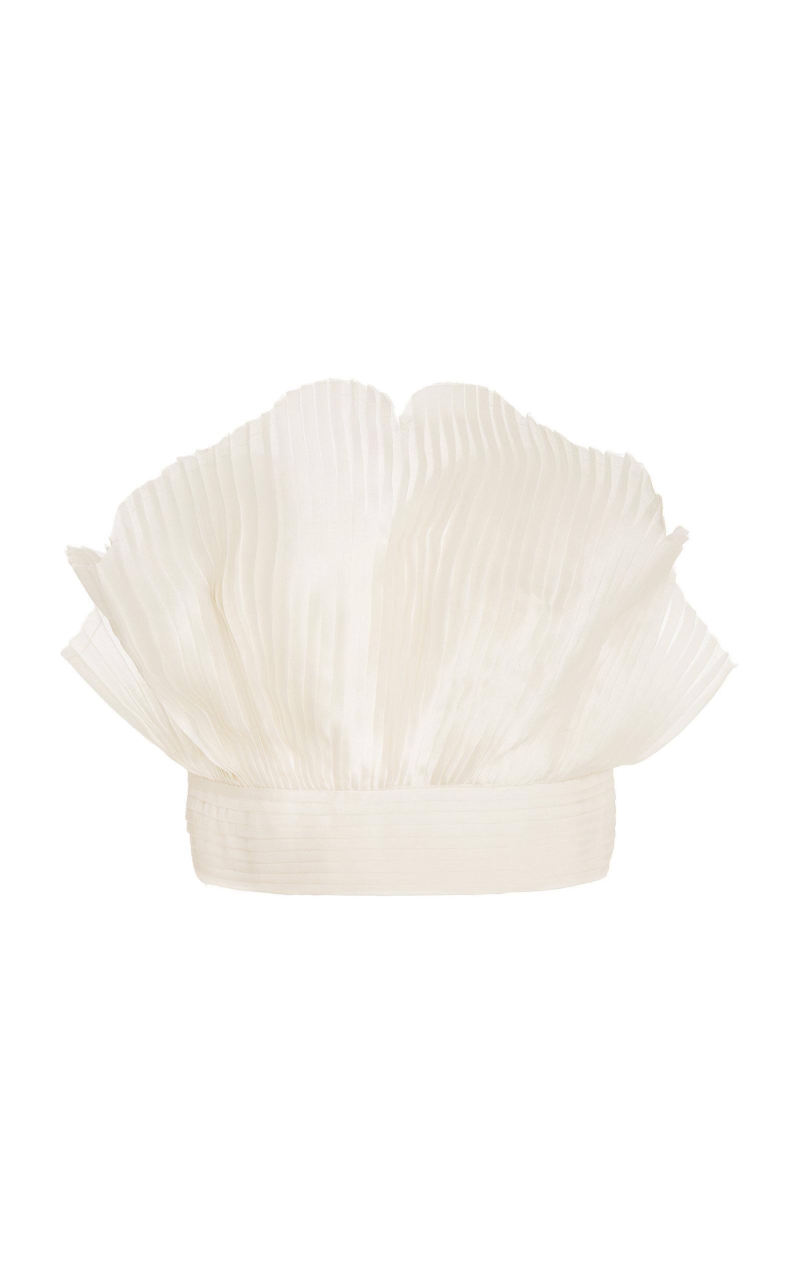 Women's Gingko Pleated Silk Strapless Crop Top