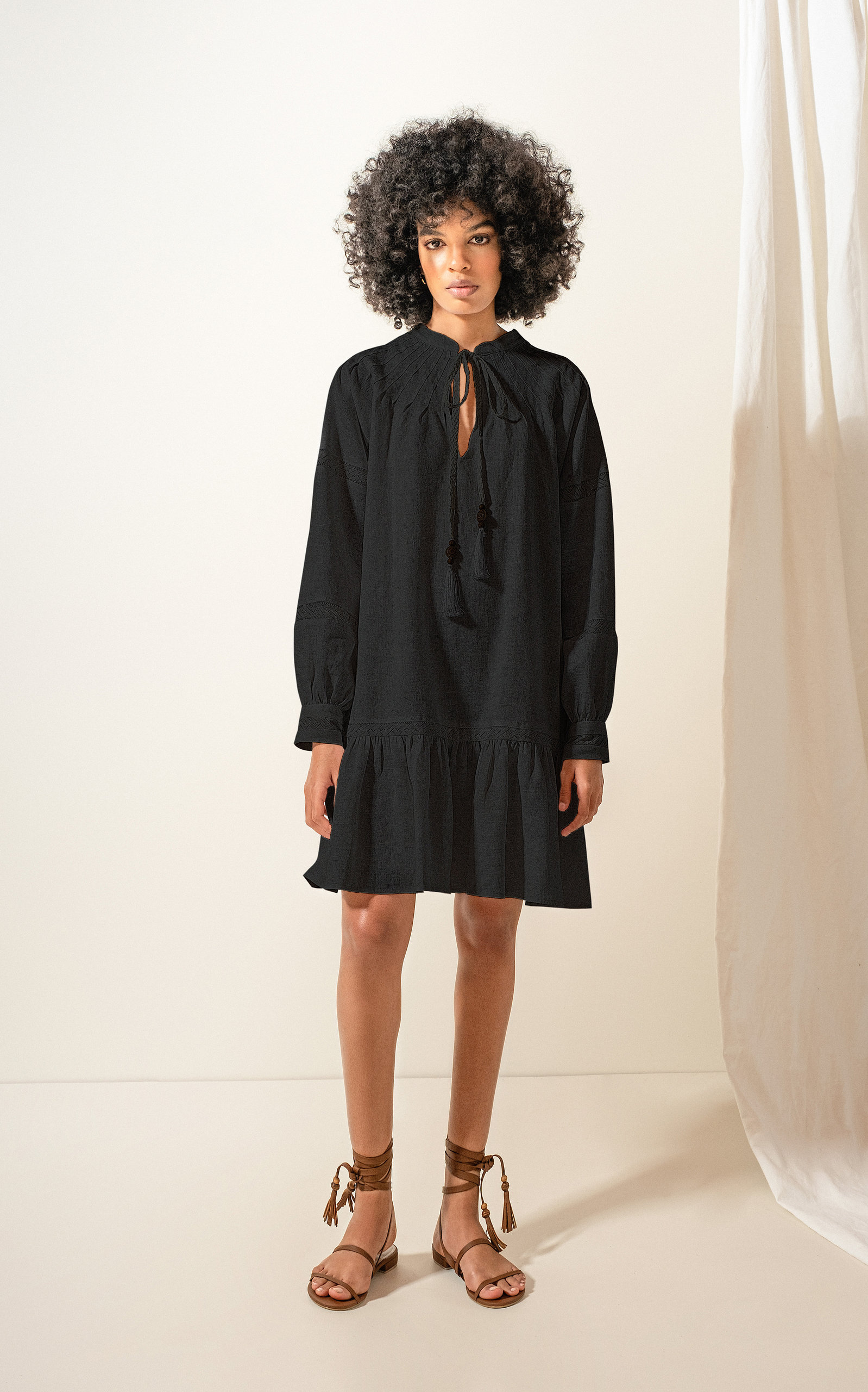 Andres Otalora Colibri Tassel-detail Linen Mini Dress In Black