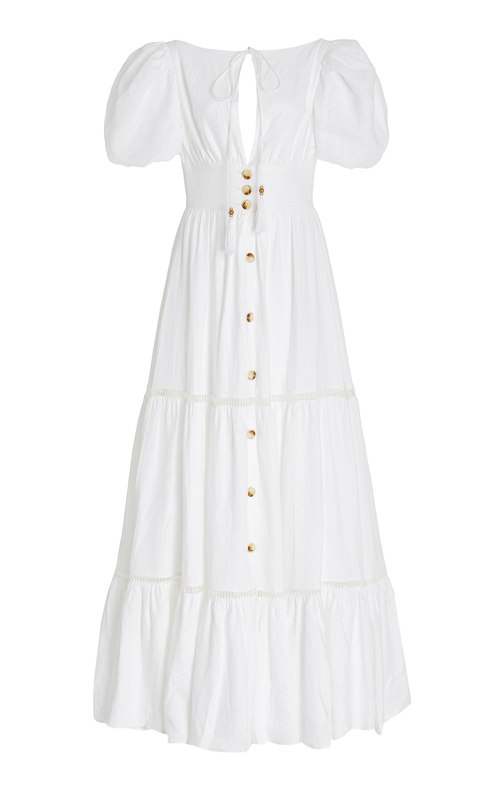 Women's Canoa Button-Front Tiered Linen Maxi Dress