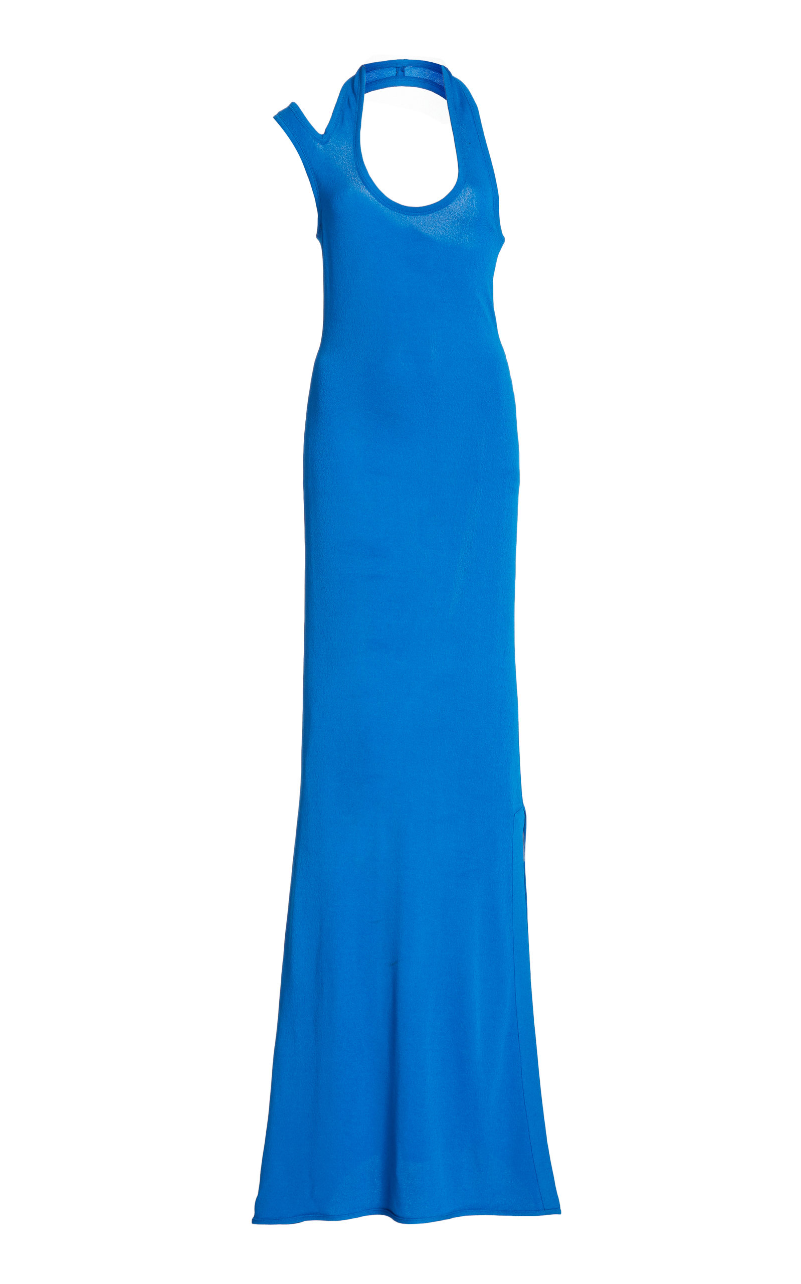 Proenza Schouler Asymmetric Halter Crepe Jersey Dress In Blue
