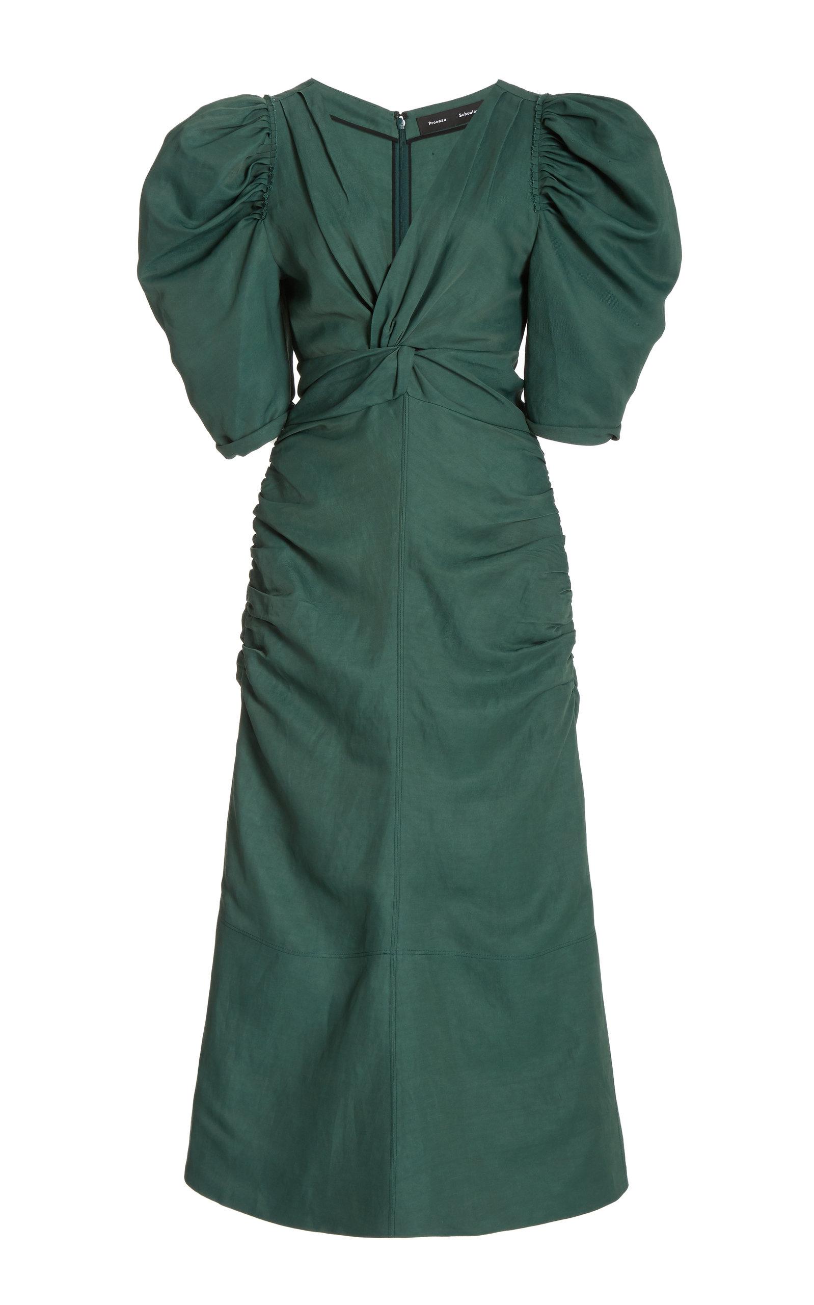 Proenza Schouler Shirred-sleeve Satin Dress In Green