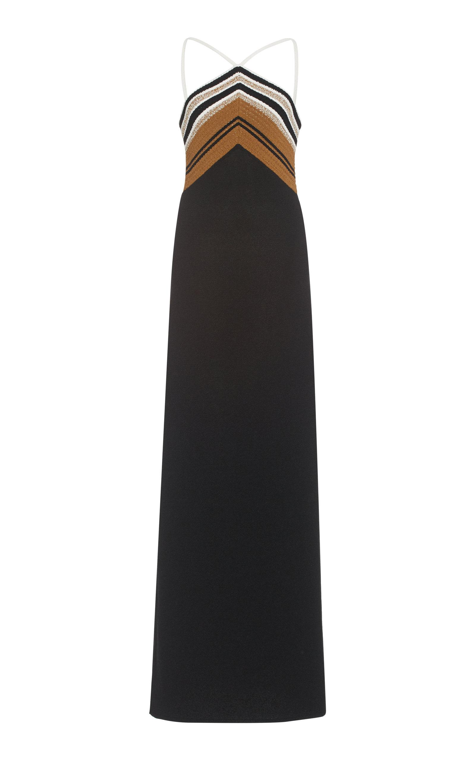 Proenza Schouler Crochet-trimmed Silk-blend Maxi Dress In Black