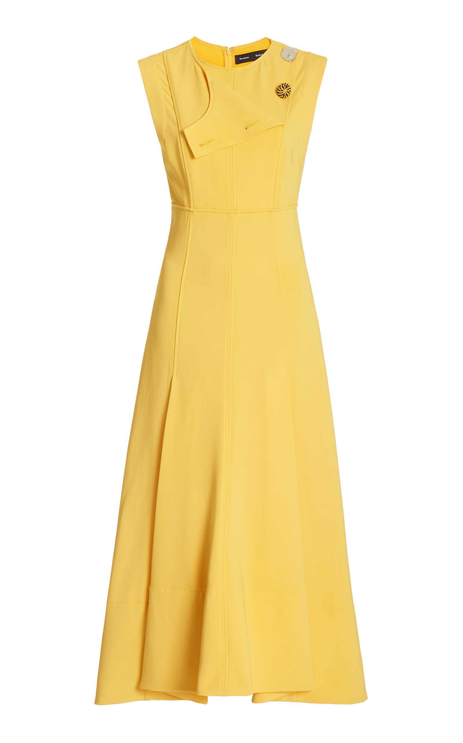 Proenza Schouler A-line Tiered Matte Crepe Dress In Yellow