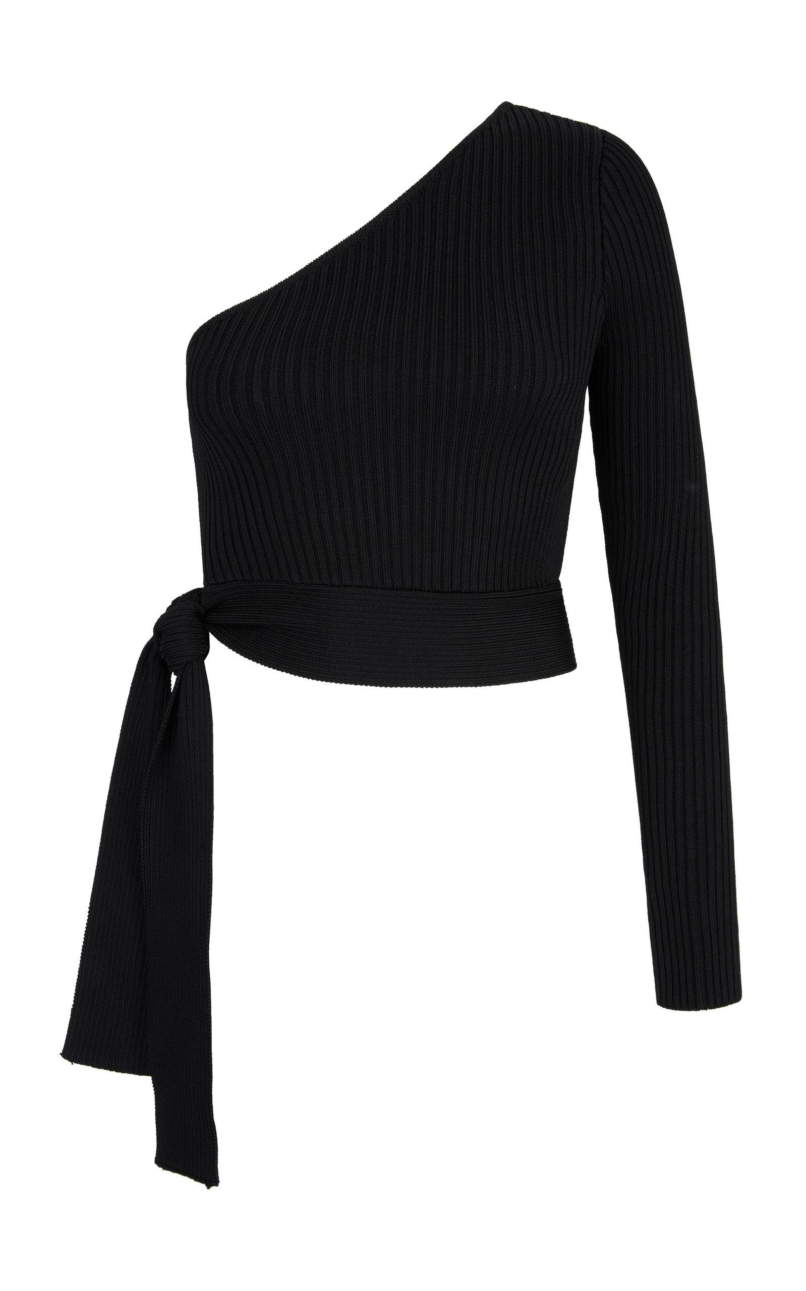 Women's Zircon Asymmetric Ribbed-Knit Top