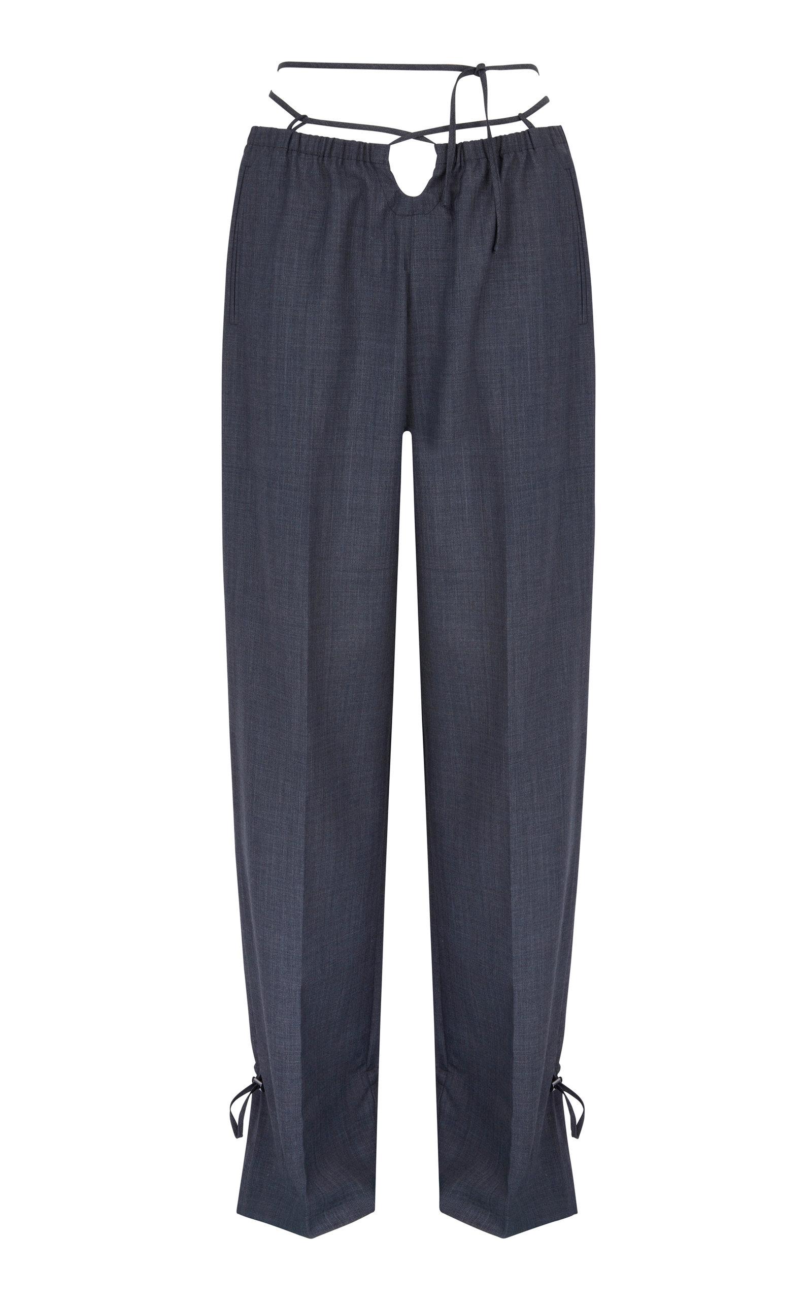 Women's Baojin Tie-Accented Woven Straight-Leg Pants