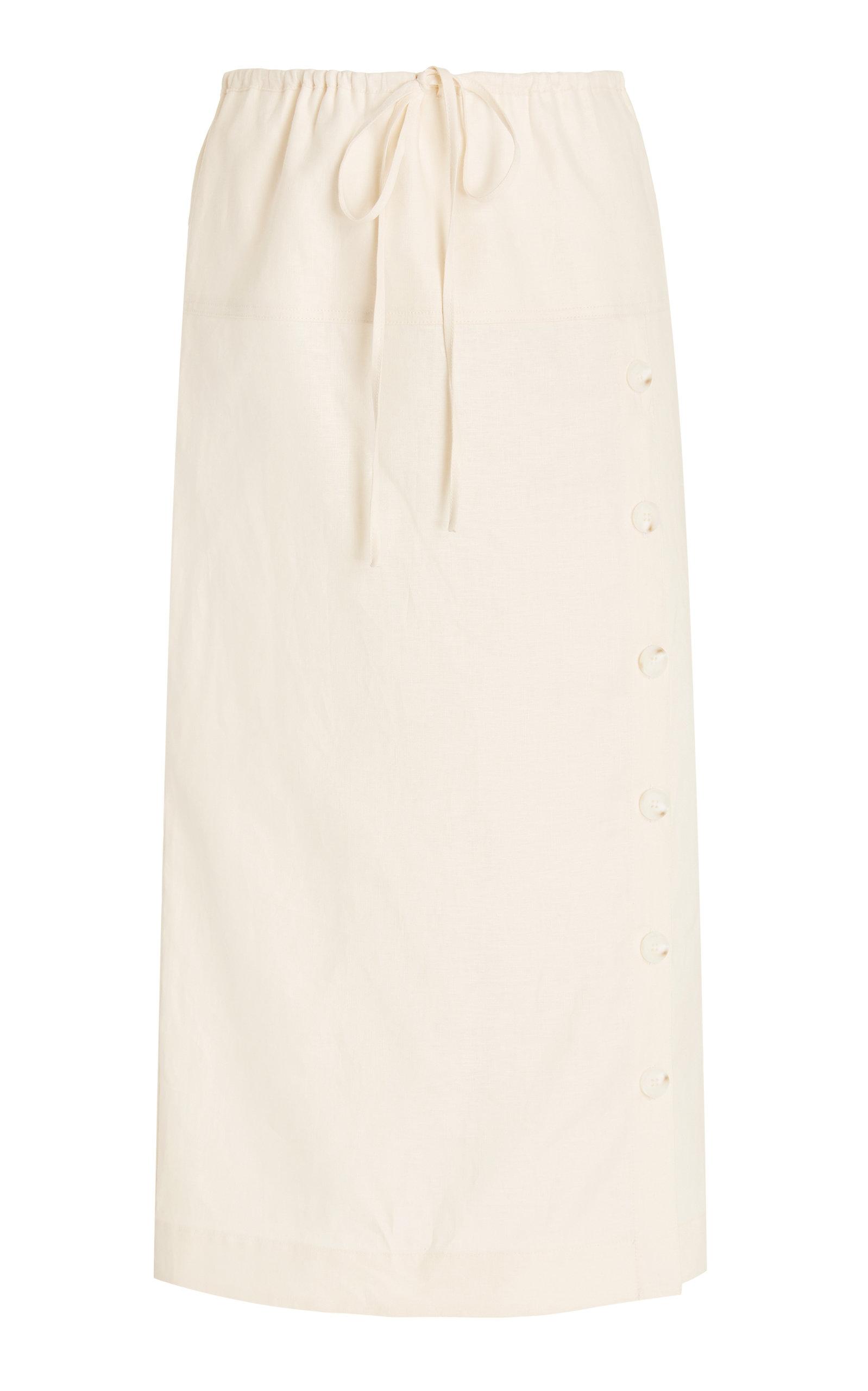 Women's Drawstring Linen Midi Skirt