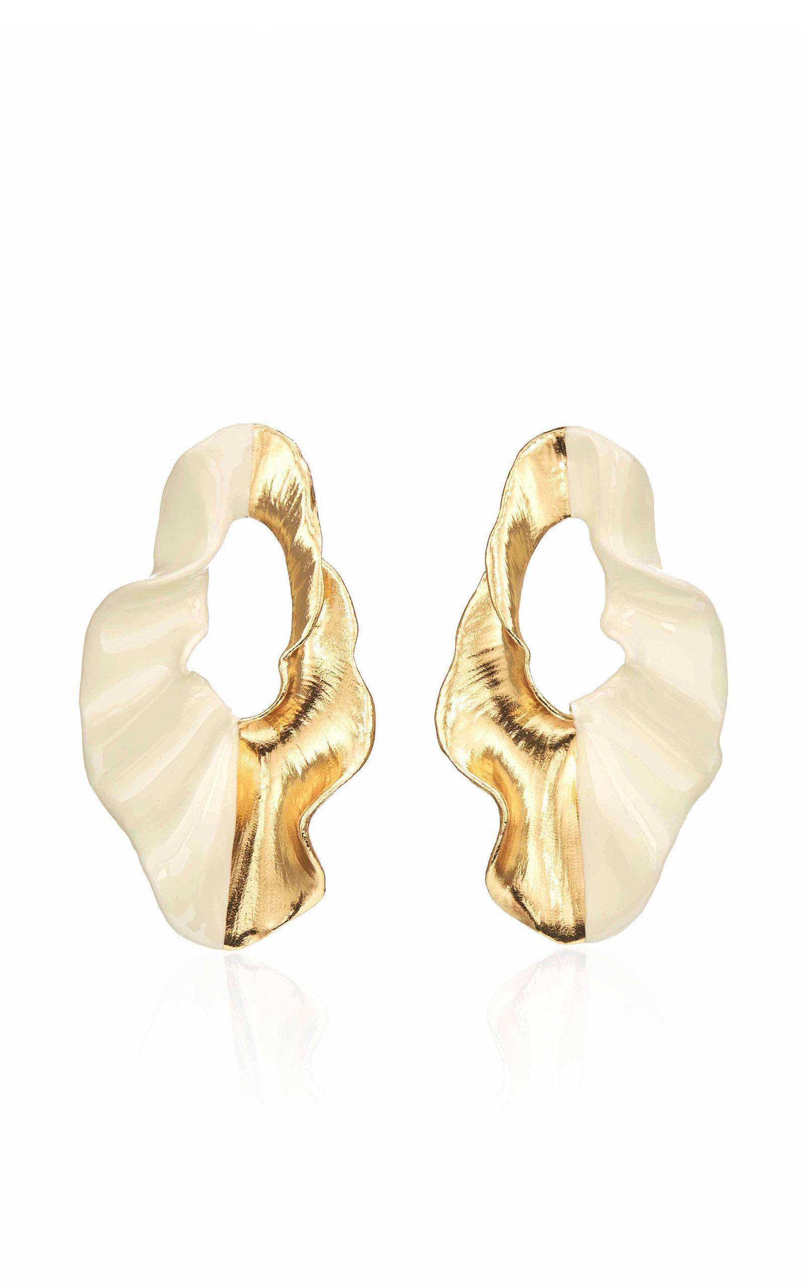 Mi Manera Women's Sabi Enameled Earrings In White