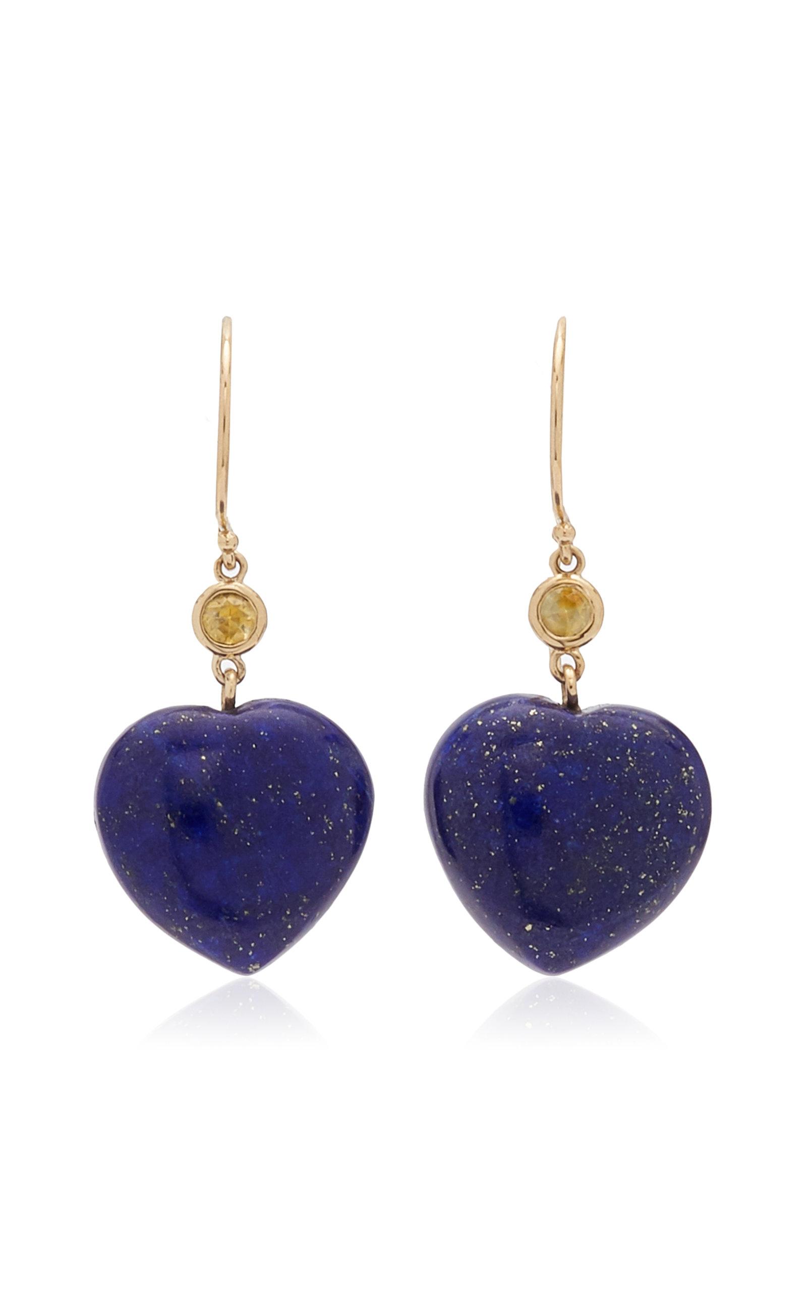 Women's 14K Yellow Gold Lapis; Sapphire Earrings
