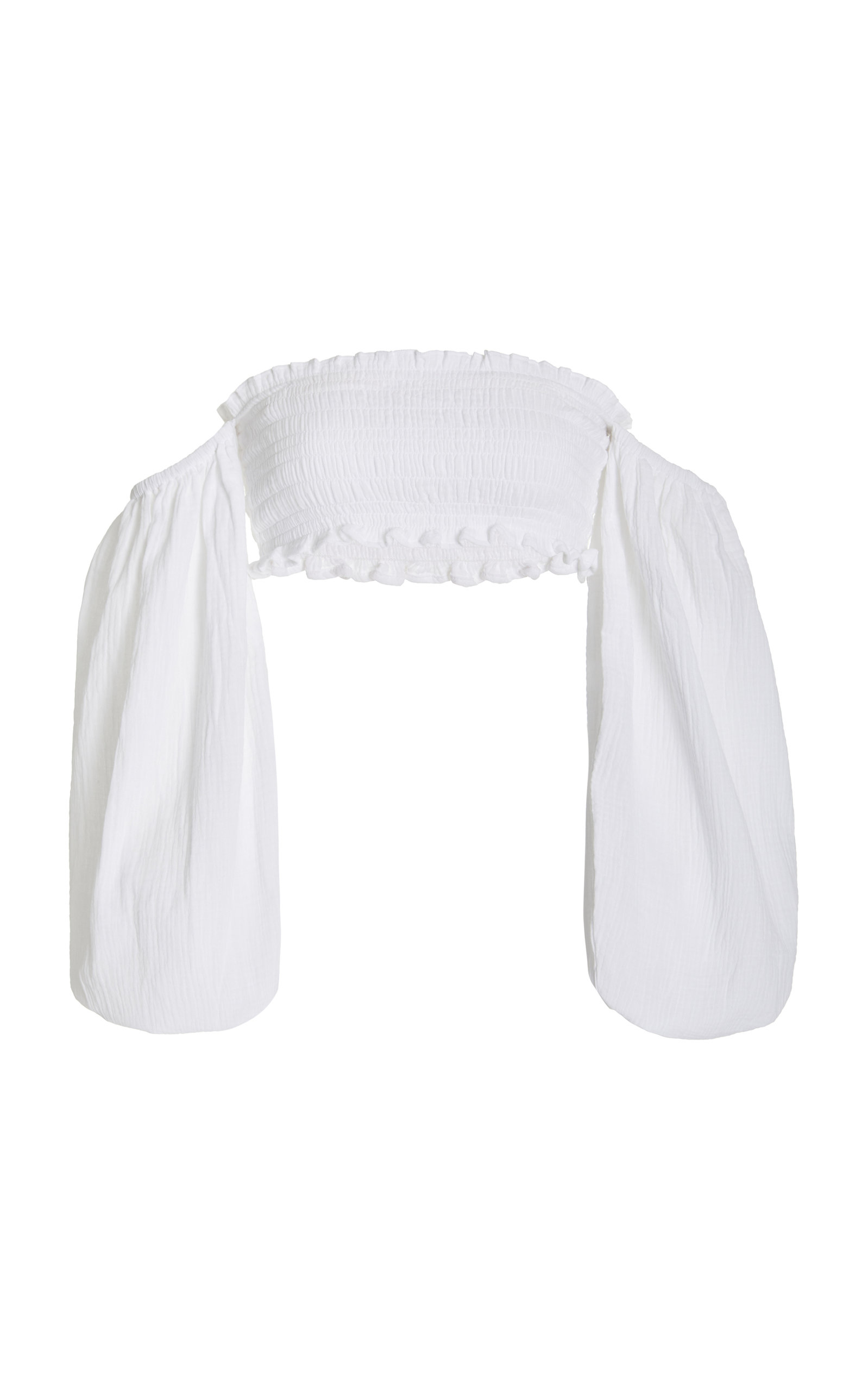 Women's Agatha Smocked Cotton Off-The-Shoulder Crop Top